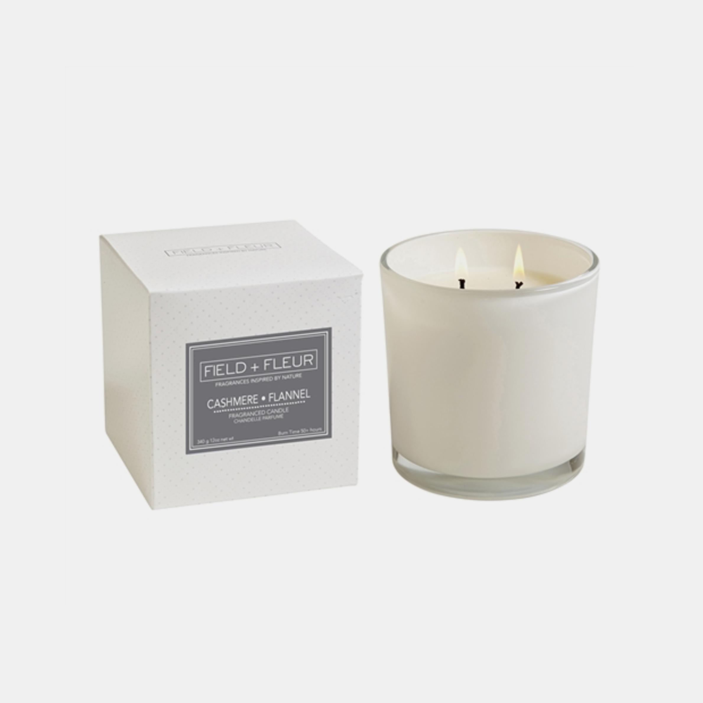 Cashmere Flannel Candle  Two-wick candle in white glass jar. 12 oz. SKU99585HLN