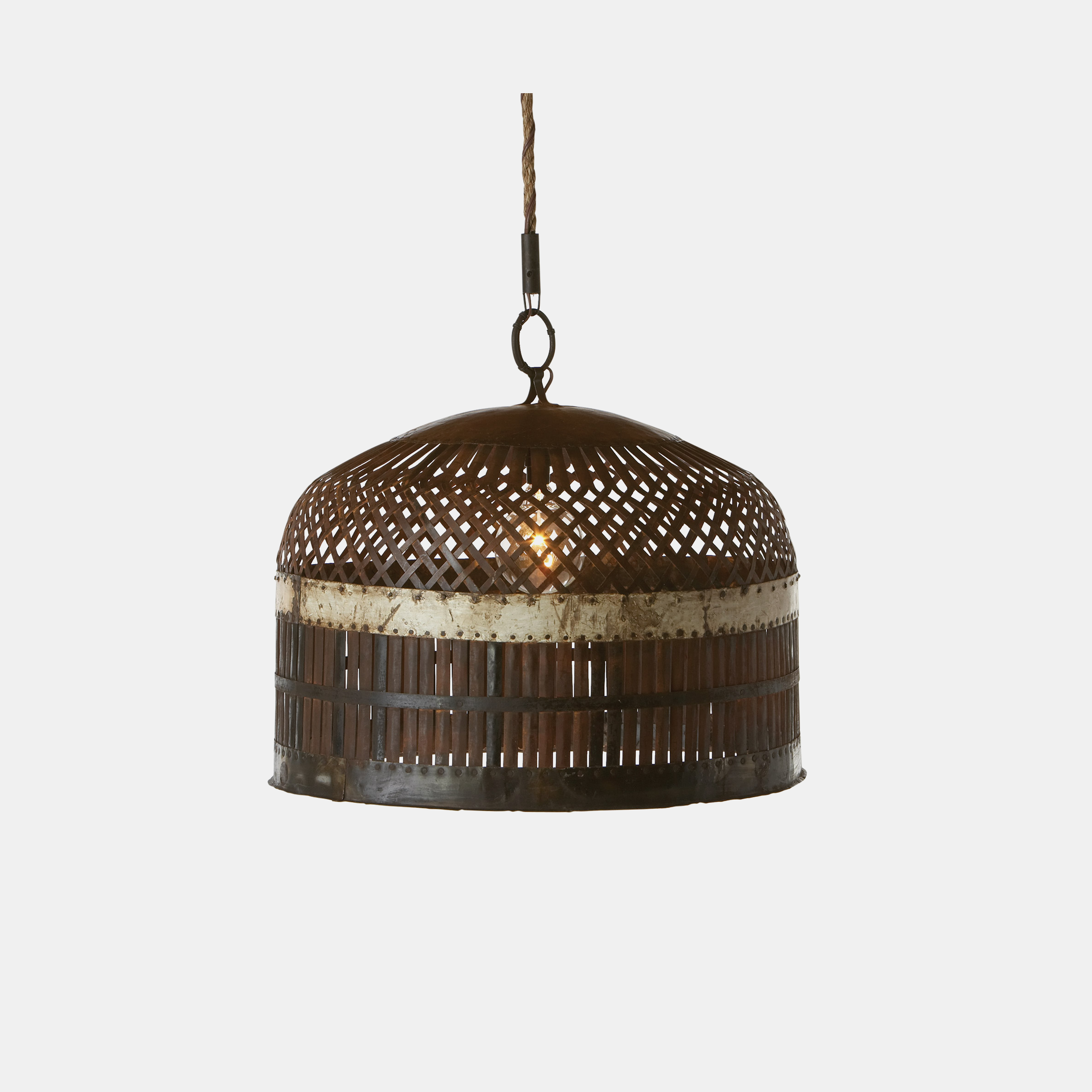 "Metal Basket Lamp  Large: 29""d x 29""w x 21""h Small: 15""w x 15""d x 15""h SKU2223CSC"