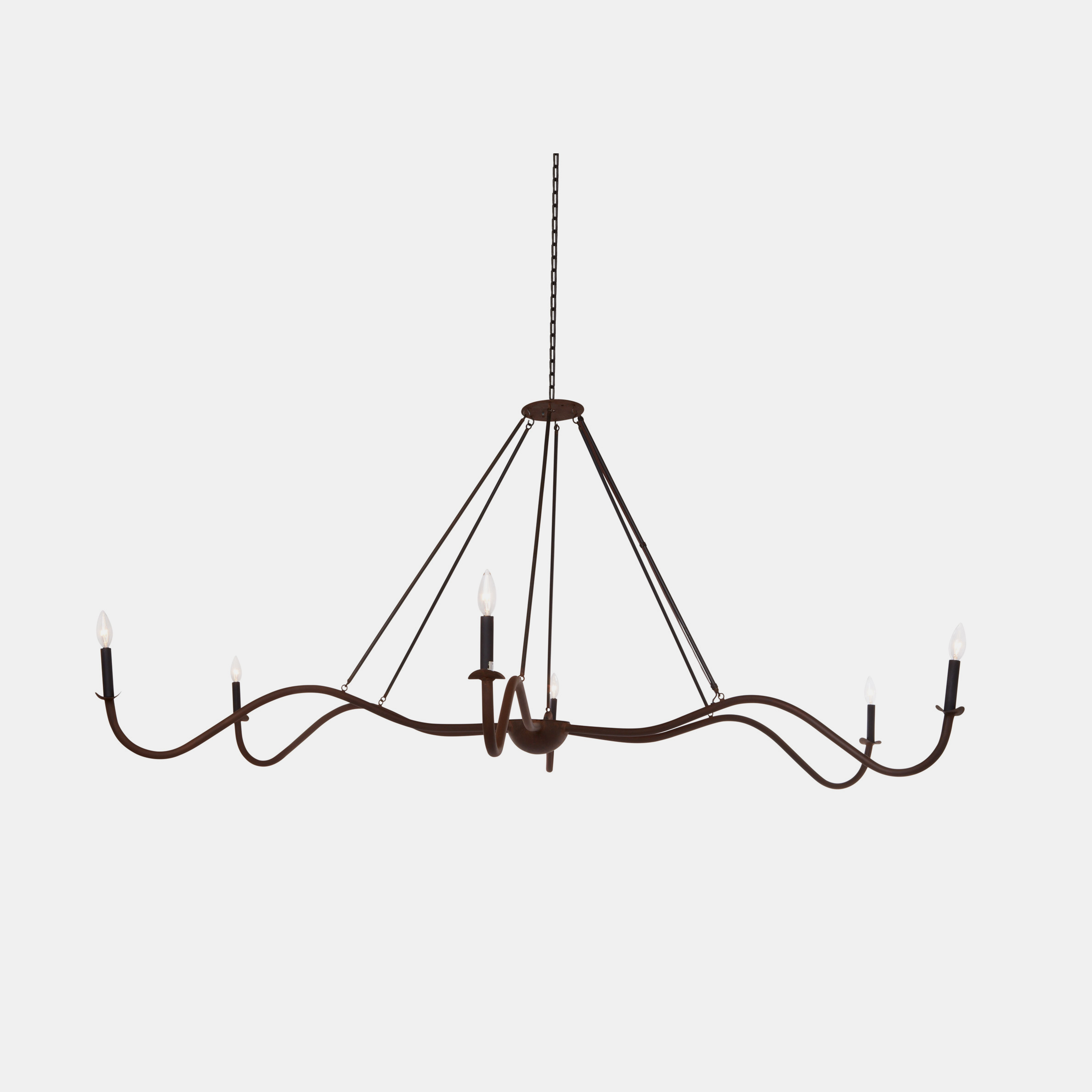 "Spider Chandelier  Small:   36""w x 36""d x 36""h  Medium: 48""w x 48""d x 36""h Large: 72""w x 72""d x 36""h Available in rust or flat black. SKU442CUY"