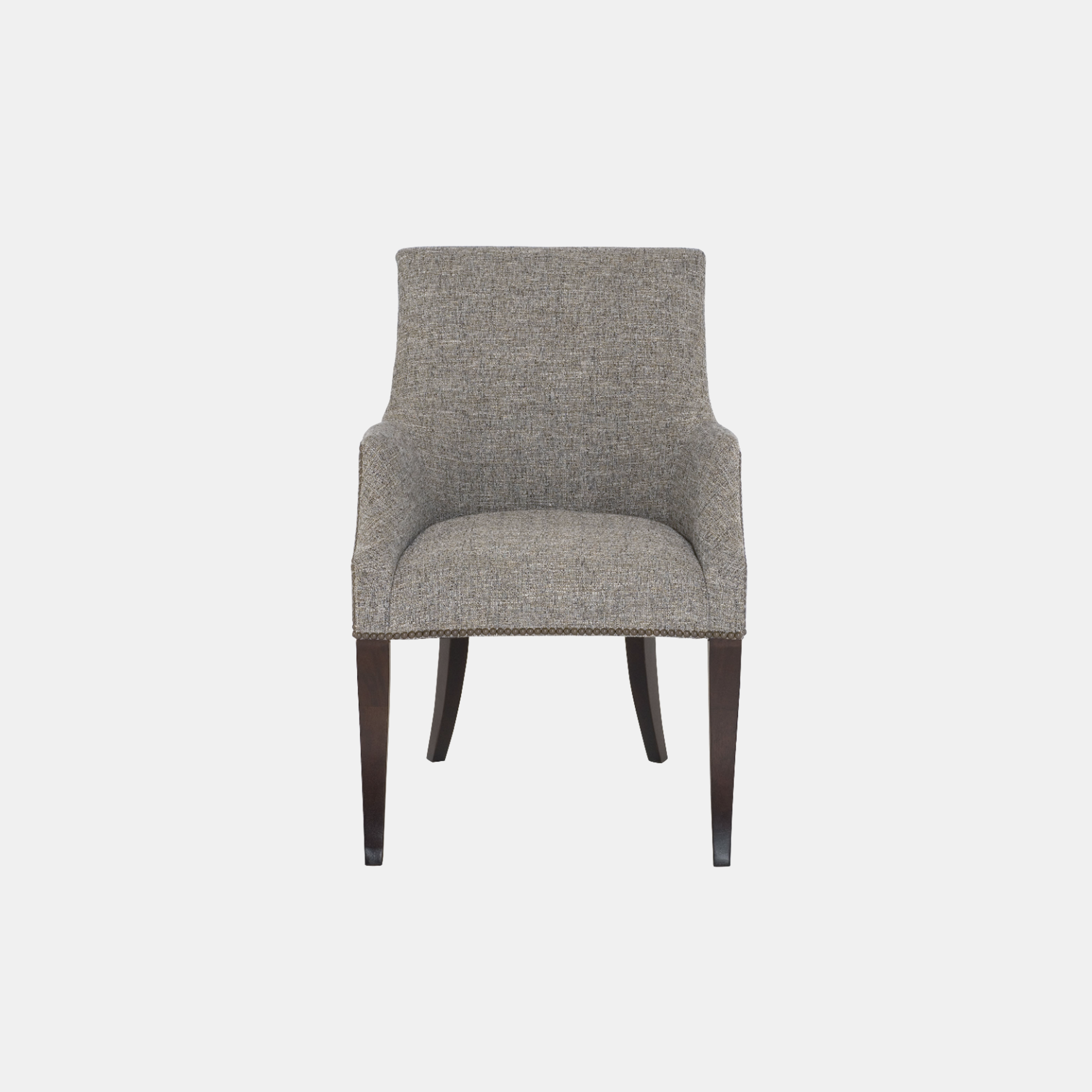 "Keeley Dining Chair  24""w x 27-1/4""d x 38""h Legs available in chalk, smoke, or cocoa (shown). Available in fabric, leather, or COM. Also available as counter stool or bar stool. SKU3321BHT"
