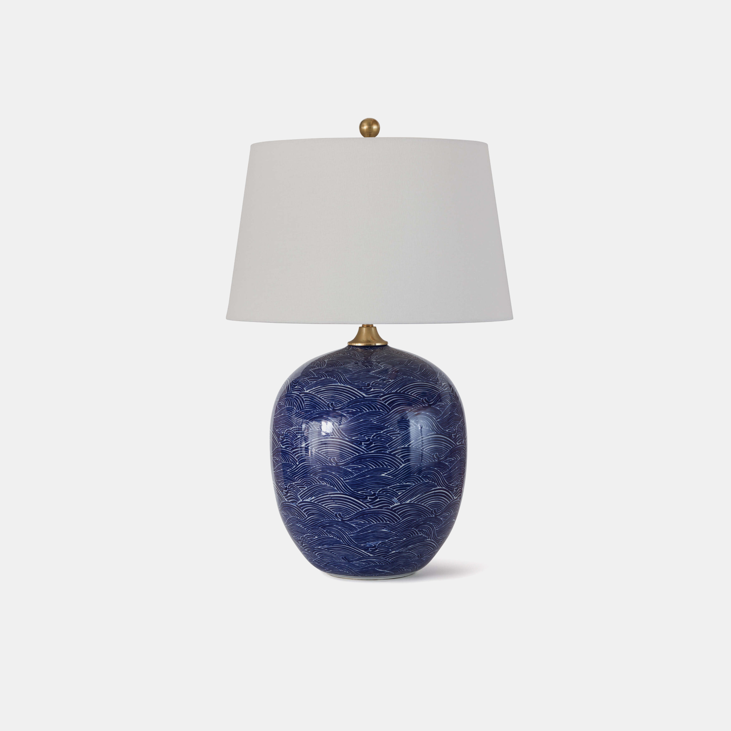 "Harbor Ceramic Table Lamp  18"" round x 29""h Available in blue (shown) and black. SKU3I239RAD"