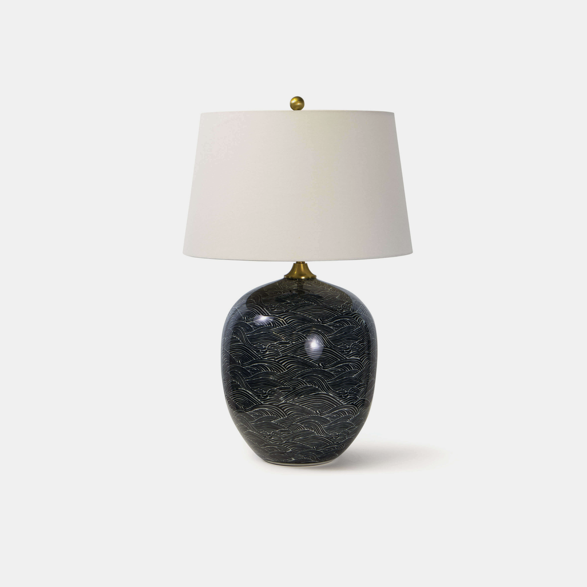 "Harbor Ceramic Table Lamp  18"" round x 29""h Available in blue and black (shown). SKU7788RAD"