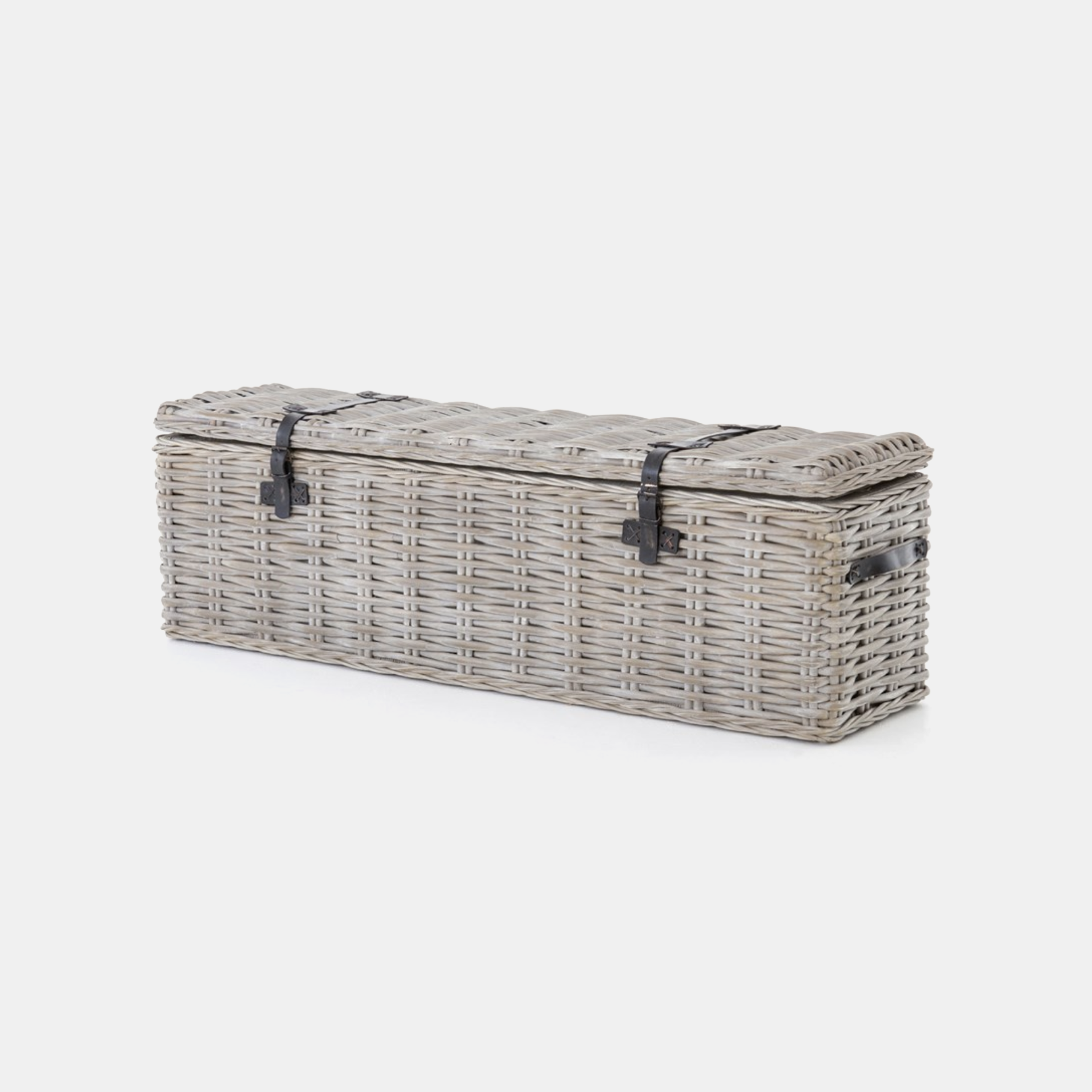 "Ciego Trunk  63.75""w x 16.5""d x 19.75""h Available in vintage gray (shown) or black wash. SKU3893FHS"