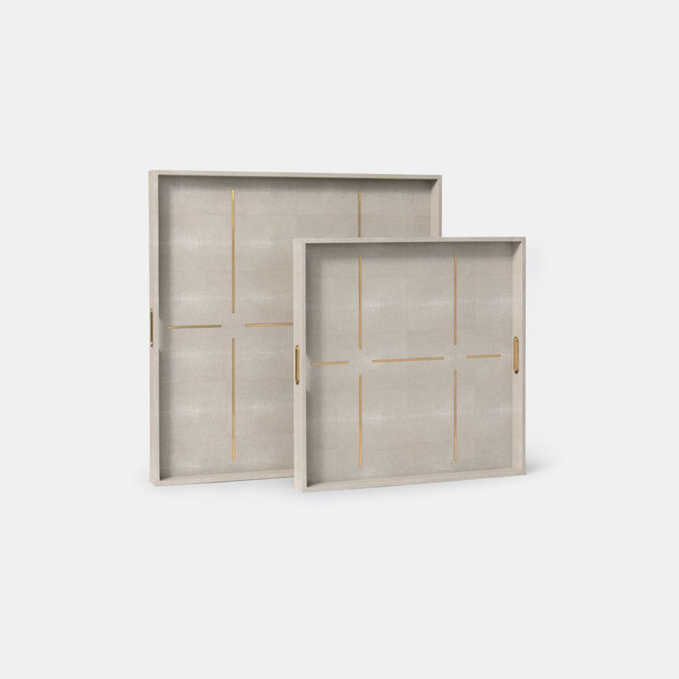 Daina XL Square Trays  Available in sand (shown) and sage. 22''L x 22''W x 2''H, 28''L x 28''W x 2''H SKU4902MGS