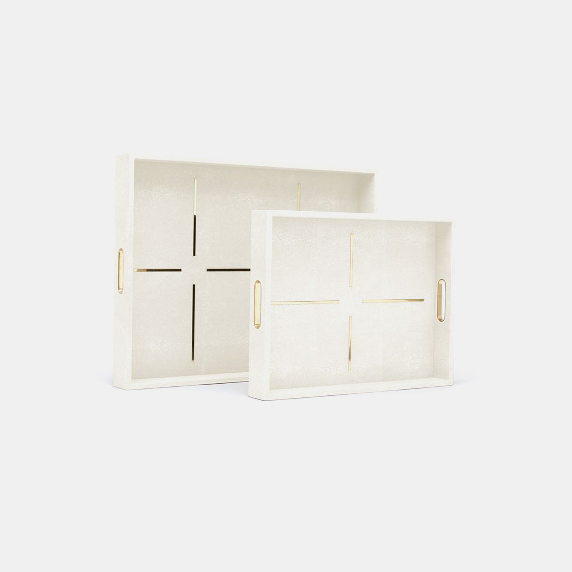 Daina Rectangular Trays  Available in snow (shown), dark mushroom, navy, sage, and sand. 18''L x 14''W x 2.5''W, 24''L x 18''W x 2.5''H XL Rectangular available in sand and sage. 24''L x 18''W x 2''H, 30''L x 24''W x 2''H SKU5578MGS
