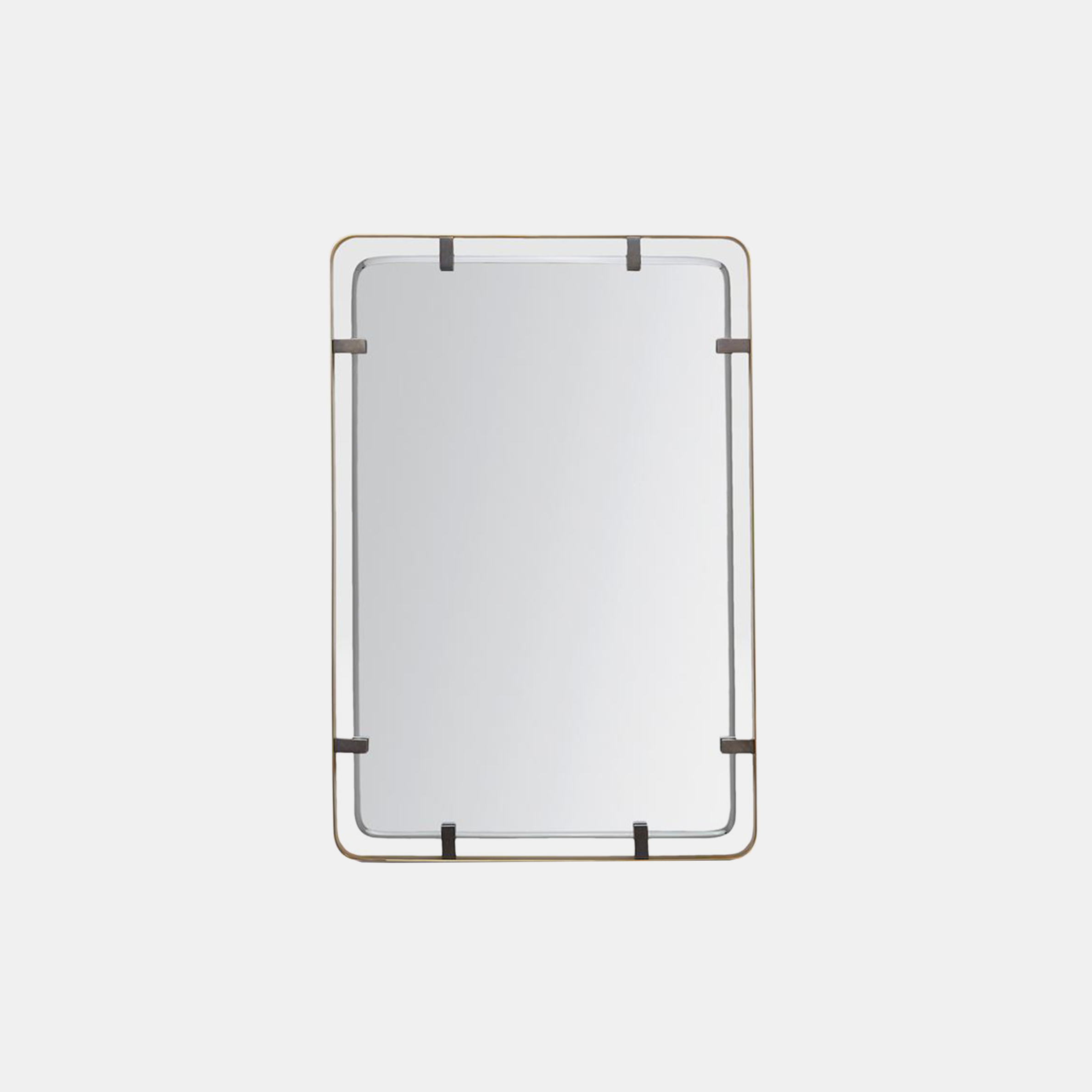 "Fremont Mirror  26""W X 38""H Available in matte brass (shown) or pewter steel. SKU1155MGS"