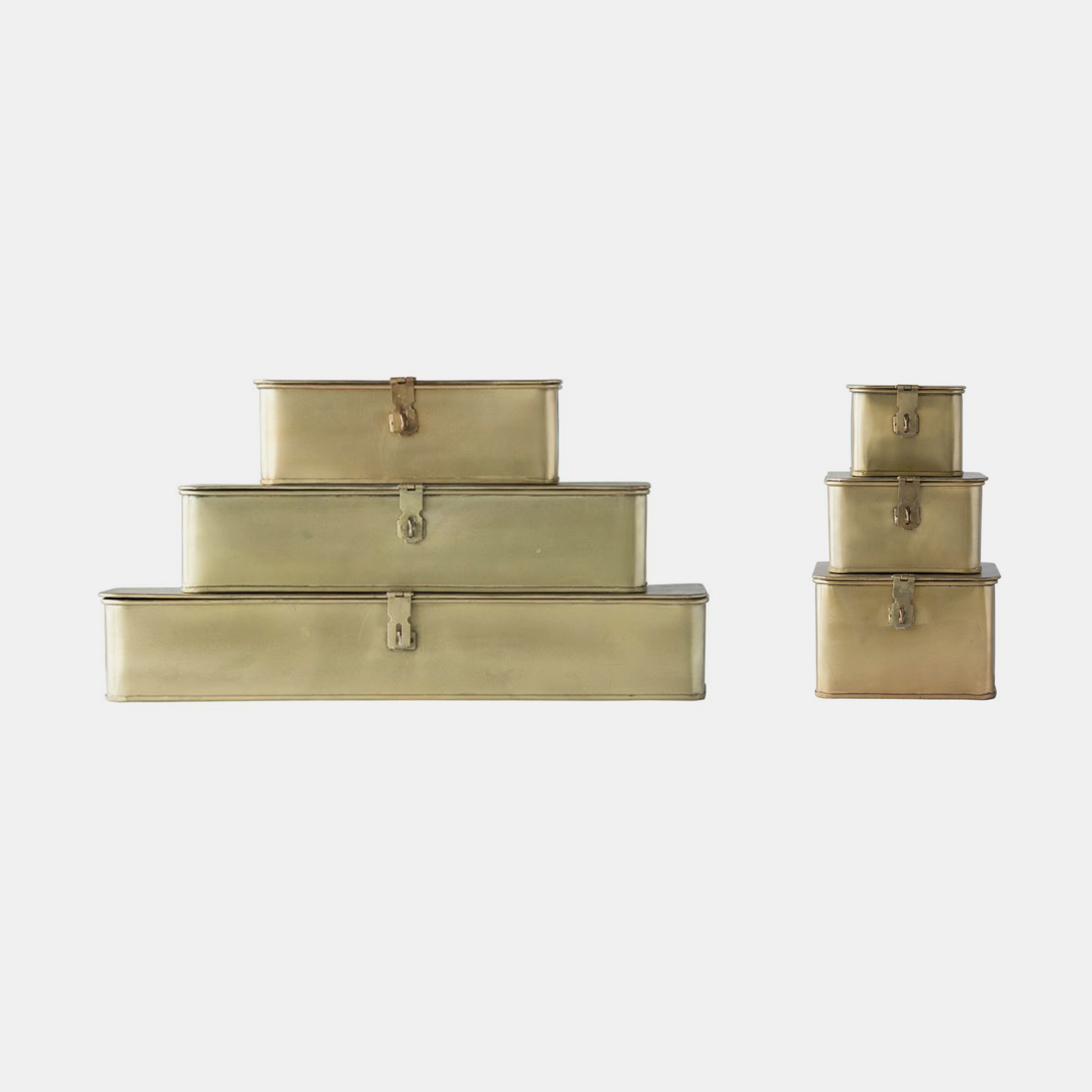 "Decorative Metal Boxes  20.5""l, 16""l & 10.5""l 7""sq, 6""sq & 4.5""sq SKU58294CCO"