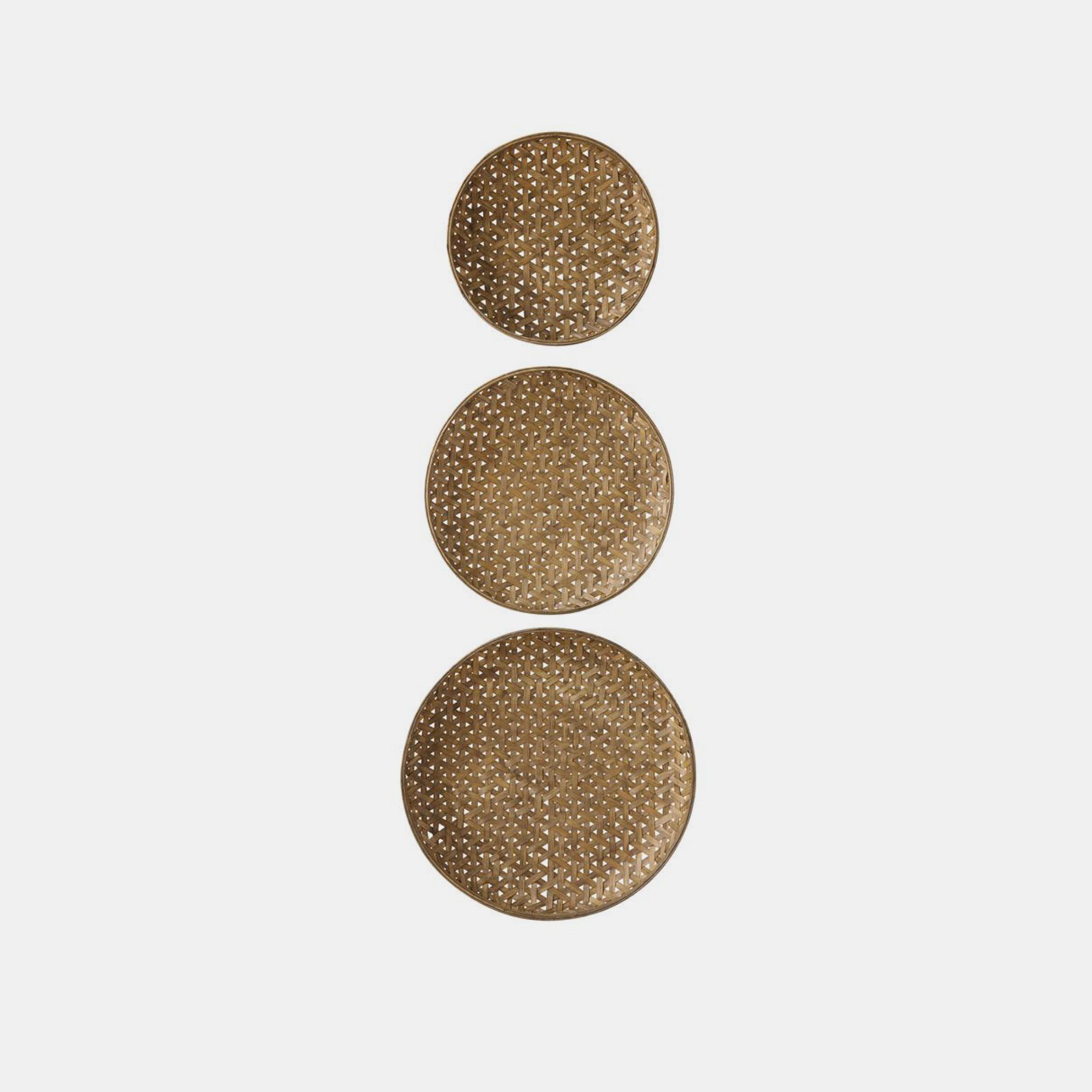 "Round Woven Bamboo Baskets  26"", 22.5"", & 19.25"" round SKU484CCO"