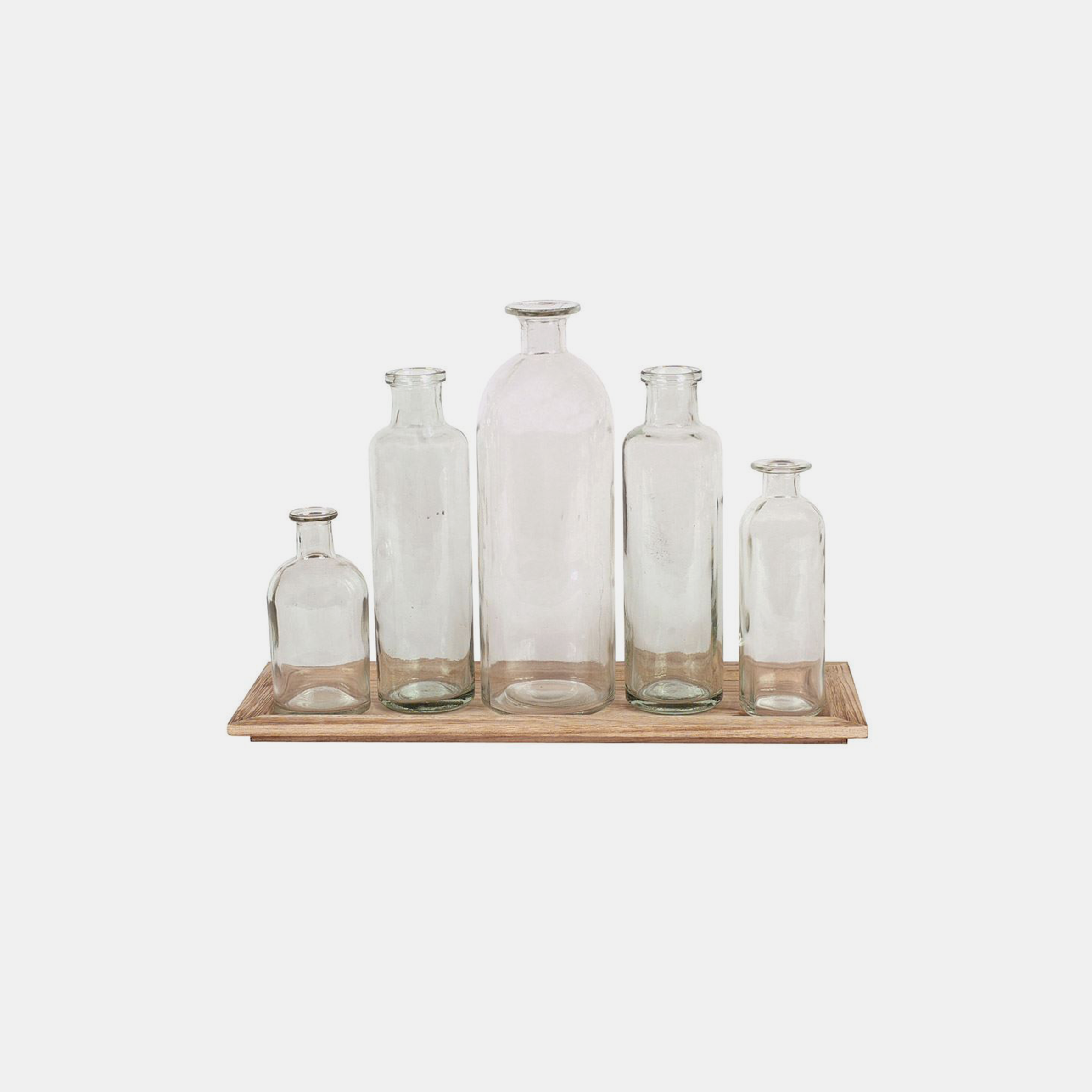 "Wood Tray with Glass Bottle Vases  15-3/4""L x 5-1/2""H SKU48411CCO"