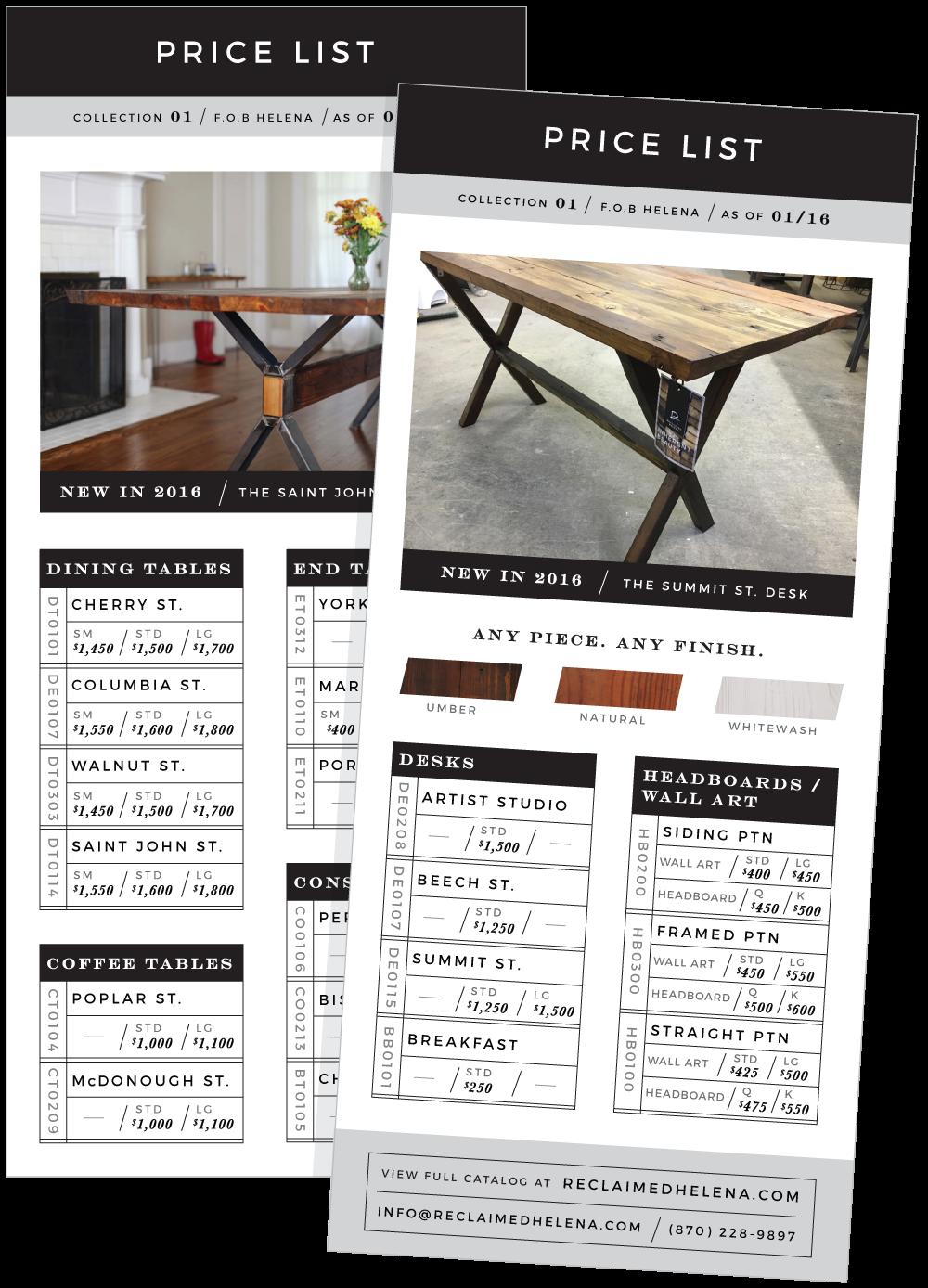 Price list insert for catalog.