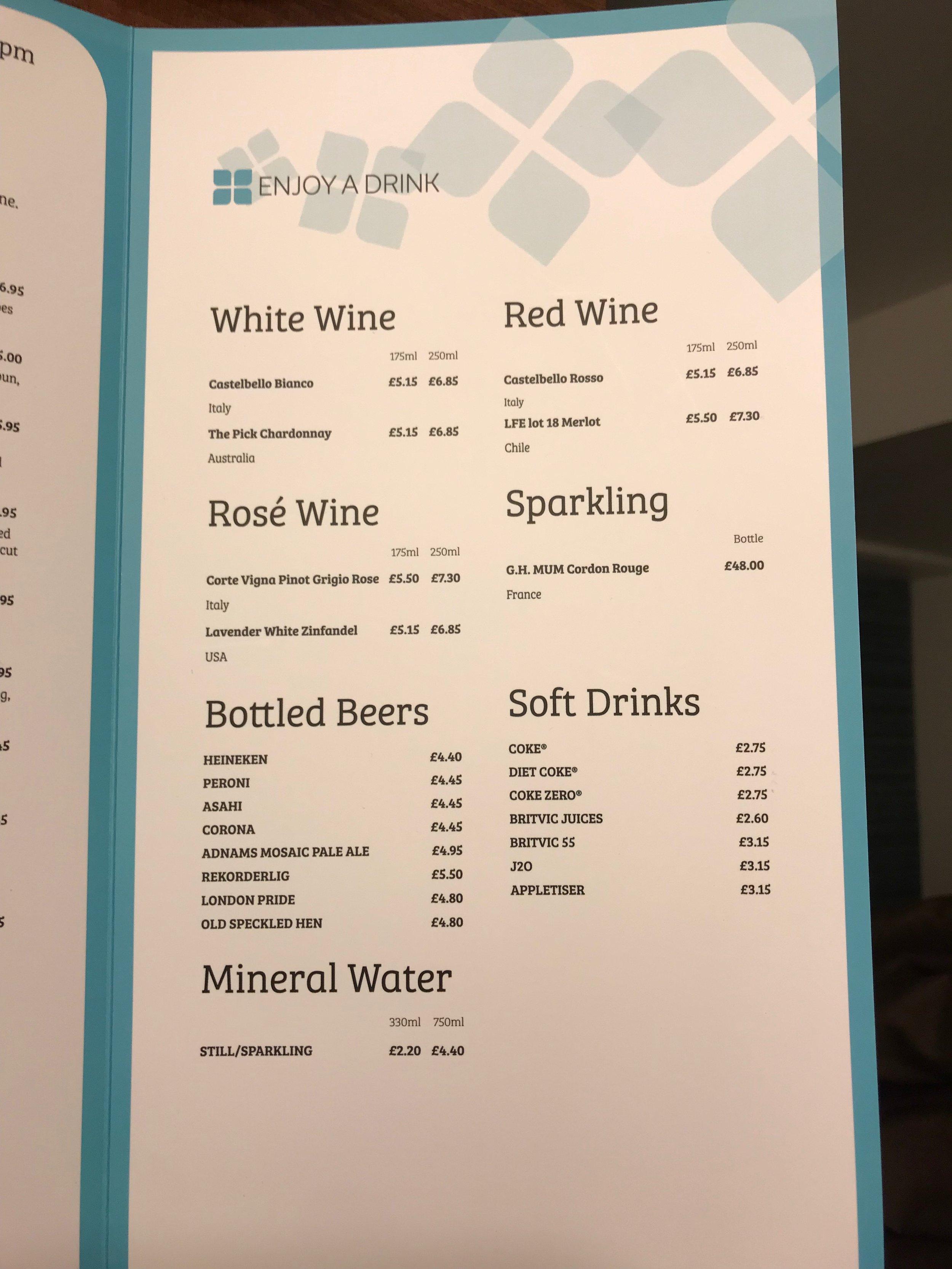 HGI Hilton London Heathrow room service menu