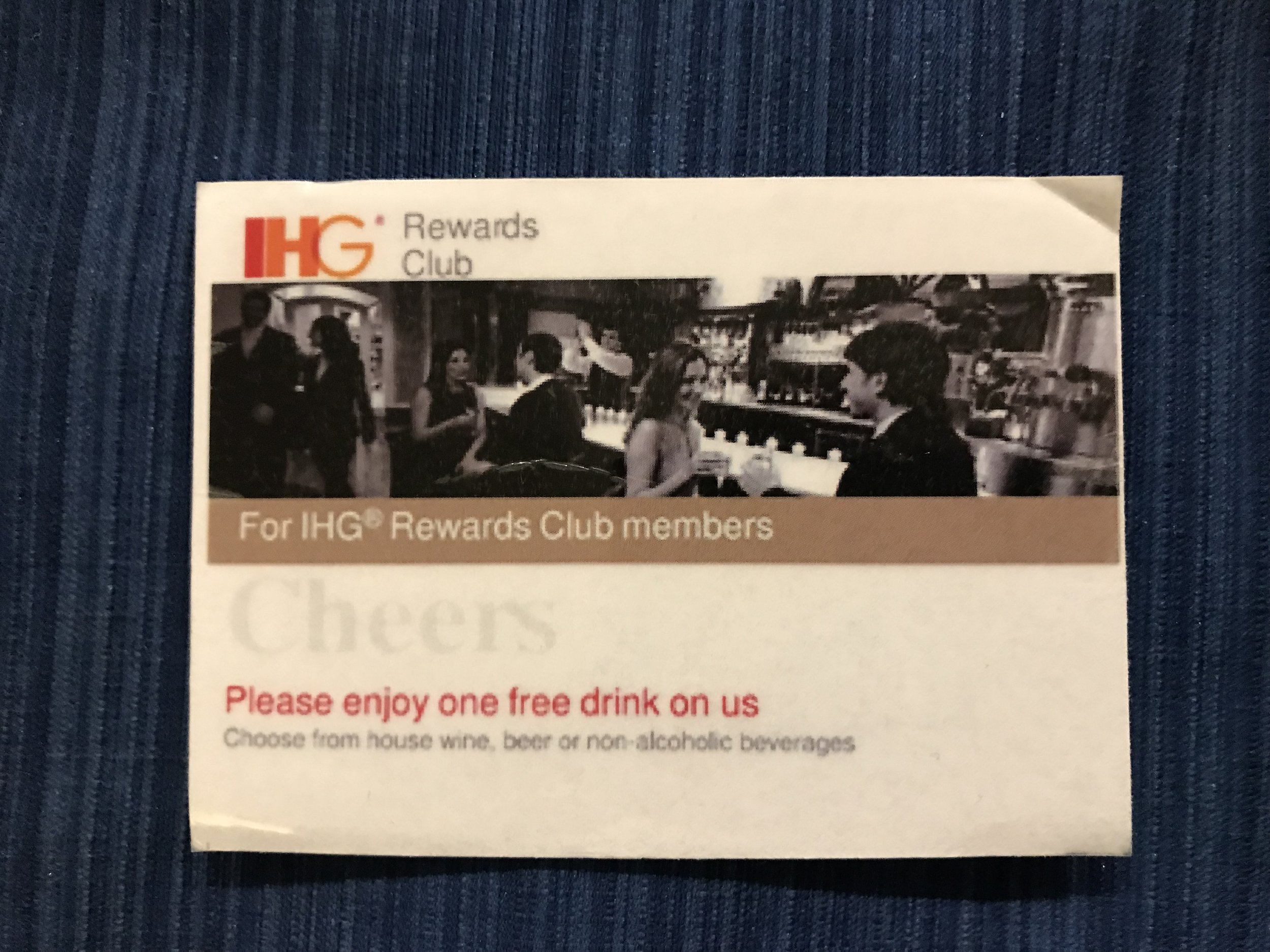 One free drink of a glass of wine, beer on draught or soft drinks, a benefit of being an IHG Rewards Club member.