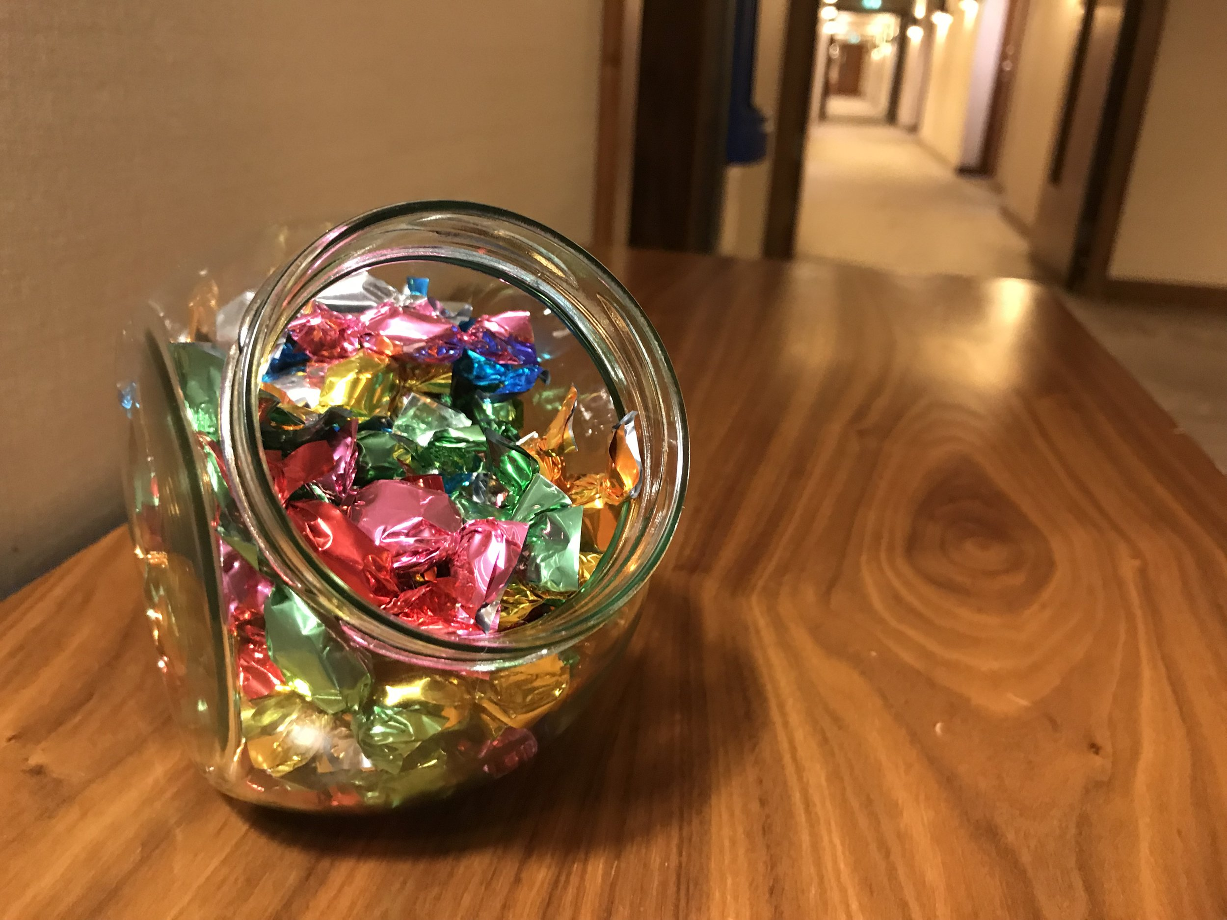 The little touches: the staff put out hard candy during the day for guests to have.