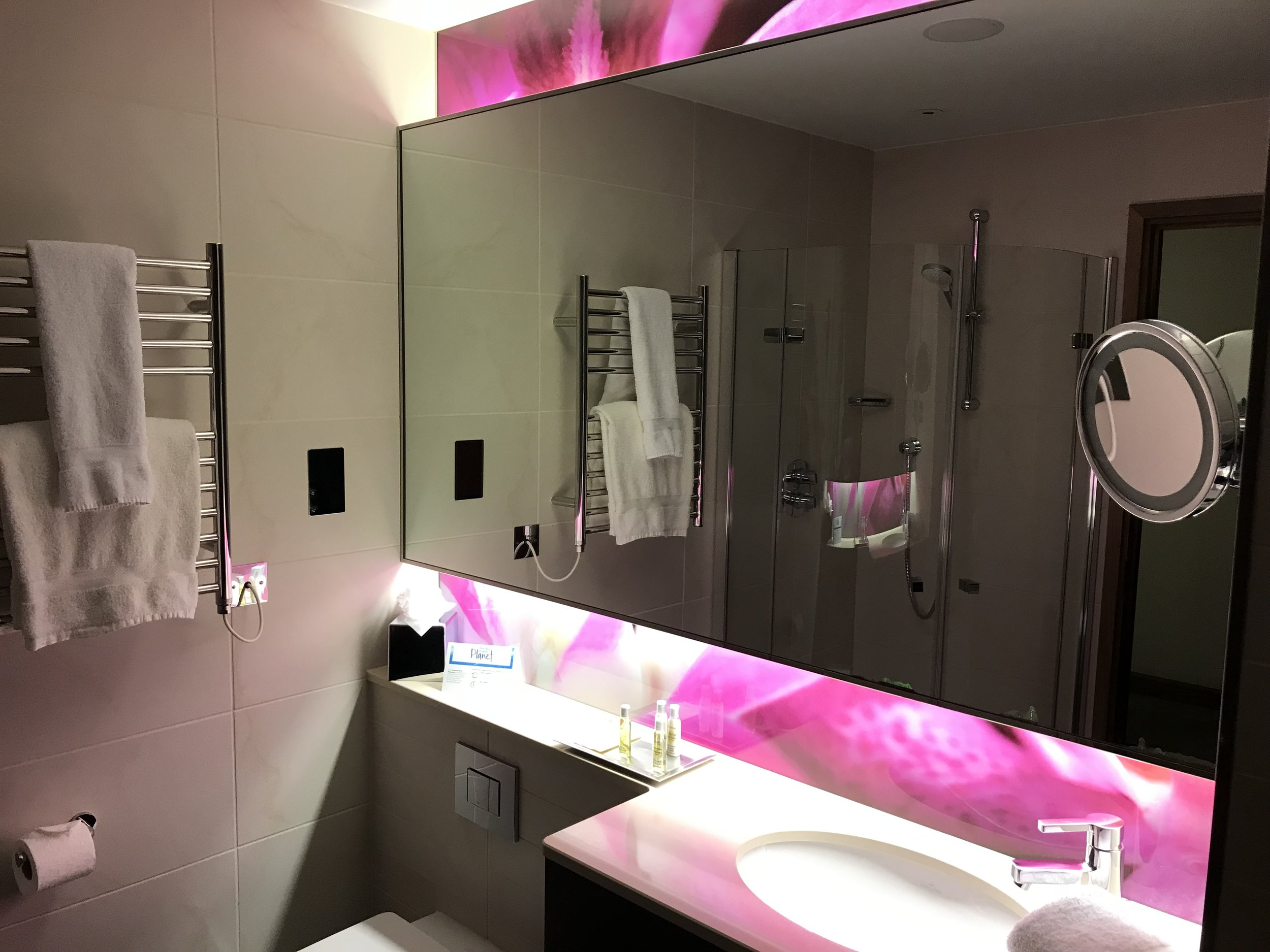 If you stay in an Executive room the shower is separate to the bath, in other standard rooms it's all in one.
