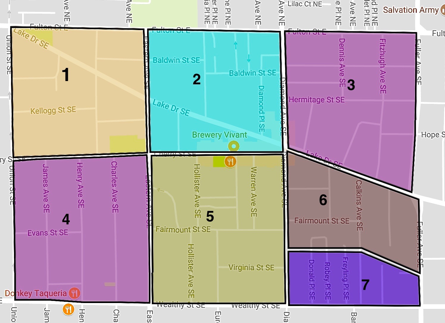 Sub Neighborhood Map - 1. Fitch Corners2. Congress Park3. Diamond Gate4. Cherry Hill5. Fairmount Square6. Orchard Hill7. Wealthy Heights