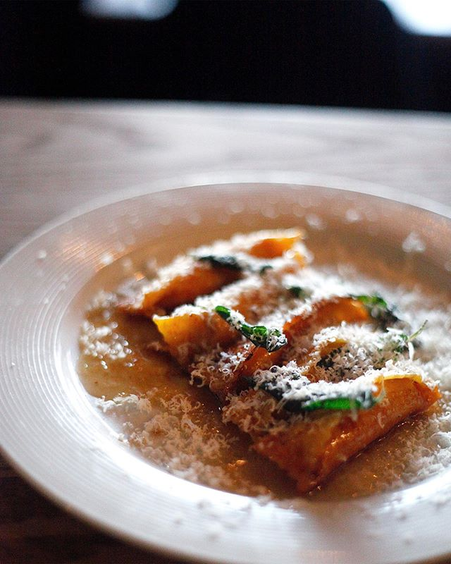 One of our fall favorites is back! Butternut squash agnolotti with Madeira, with brown butter and sage. #youdontneedapumpkinspicelatteanymore
