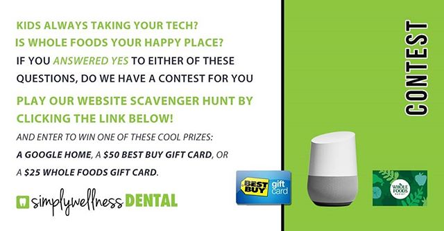 Contest Alert!! We have THREE great prizes to give away! All you have to do is:  1. Take our three question scavenger hunt quiz:  https://simplywellness.ourcontest.io/rFk8dW  2. That's all - you might be the new owner of a Google Home!  The winners will be contacted June 1st.  If you like free prizes don't forget to share and like for your friends. . . . #contestgiveaway #contest #freebies #giveaway #instagiveaway #burnaby #burnabyheights #604 #yvr #google #bestbuy #wholefoods