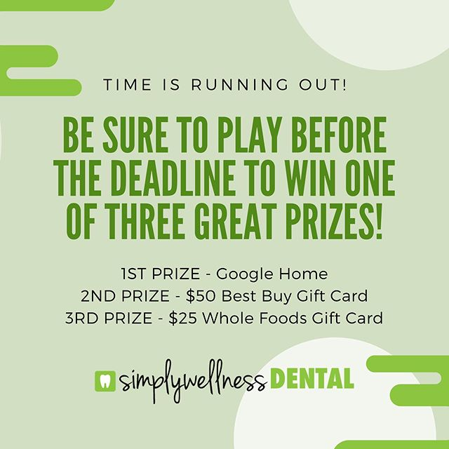 Have you entered our contest? It takes three easy steps:  1. Click the link in our bio  2. Test your Dental knowledge 3. Enter in your name and email  And you'll be entered to WIN one of the three prizes above! . . Enter our contest and you could be the new owner of a Google Home!  Contest link is in our bio.  Winners will be picked June 1st! . . . #burnaby #burnabyheights #dental #dentalassistant #toothbrush #floss #dentalcleaning #dentallife #dentaloffice #dentalhygiene #northburnaby #tooth  #free #freebies #giveaways  #instagiveaway #instacontest #google #bestbuy #wholefoods #giftcards