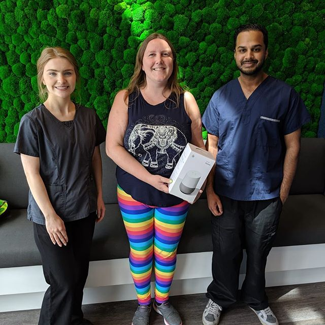 The winner of our google home from our scavenger hunt contest was @sweetlegshilary (PS. Check out her awesome leggings👌🏽) . . We would like to thank everyone who participated in our contest! . . #burnaby #burnabyheights #dental #dentalassistant #toothbrush #floss #dentalcleaning #dentallife #dentaloffice #dentalhygiene #northburnaby #tooth  #free #freebies #giveaways  #instagiveaway #instacontest #google #bestbuy #wholefoods #giftcards