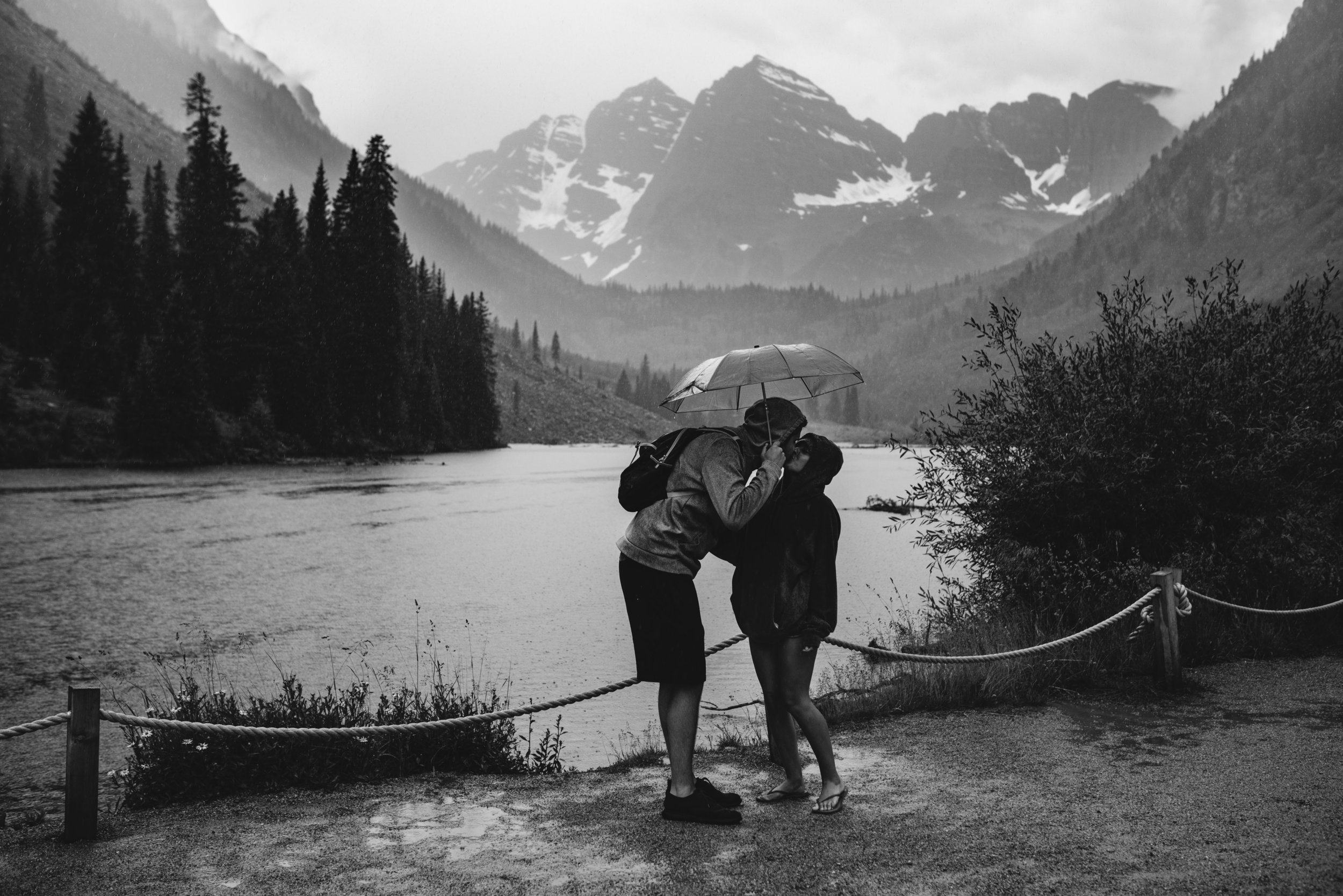 Colorado adventure Session at Maroon Bells in the rain