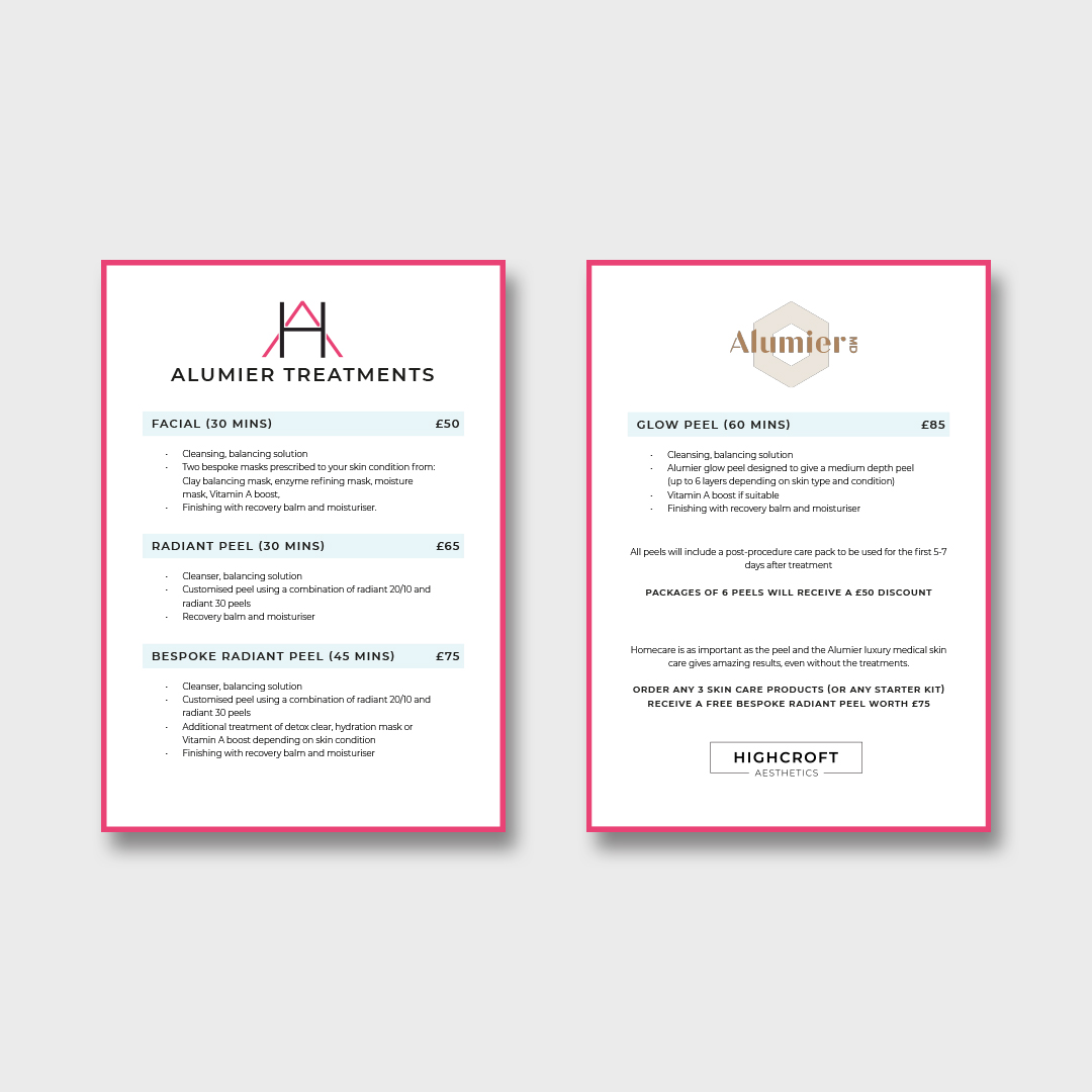 Highcroft Aesthetics Price List