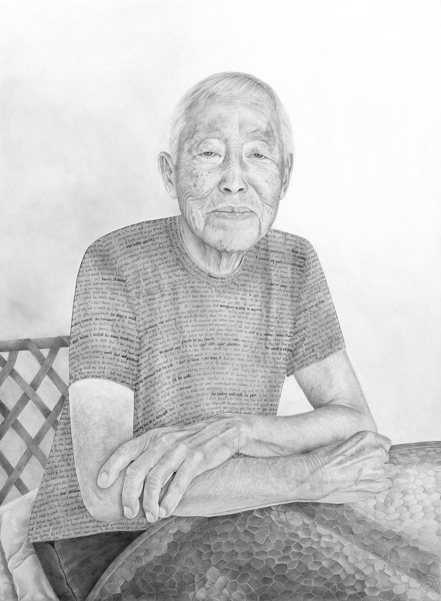 "Osamu - Pencil on drawing and tissue papers - 30"" x 22"" - 2016"