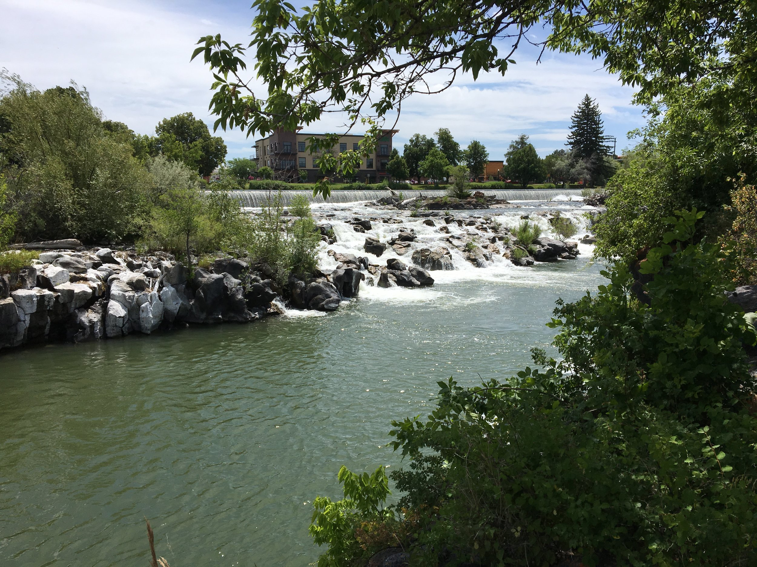 - Falls in the Snake River in the town of Idaho Falls where we're staying.