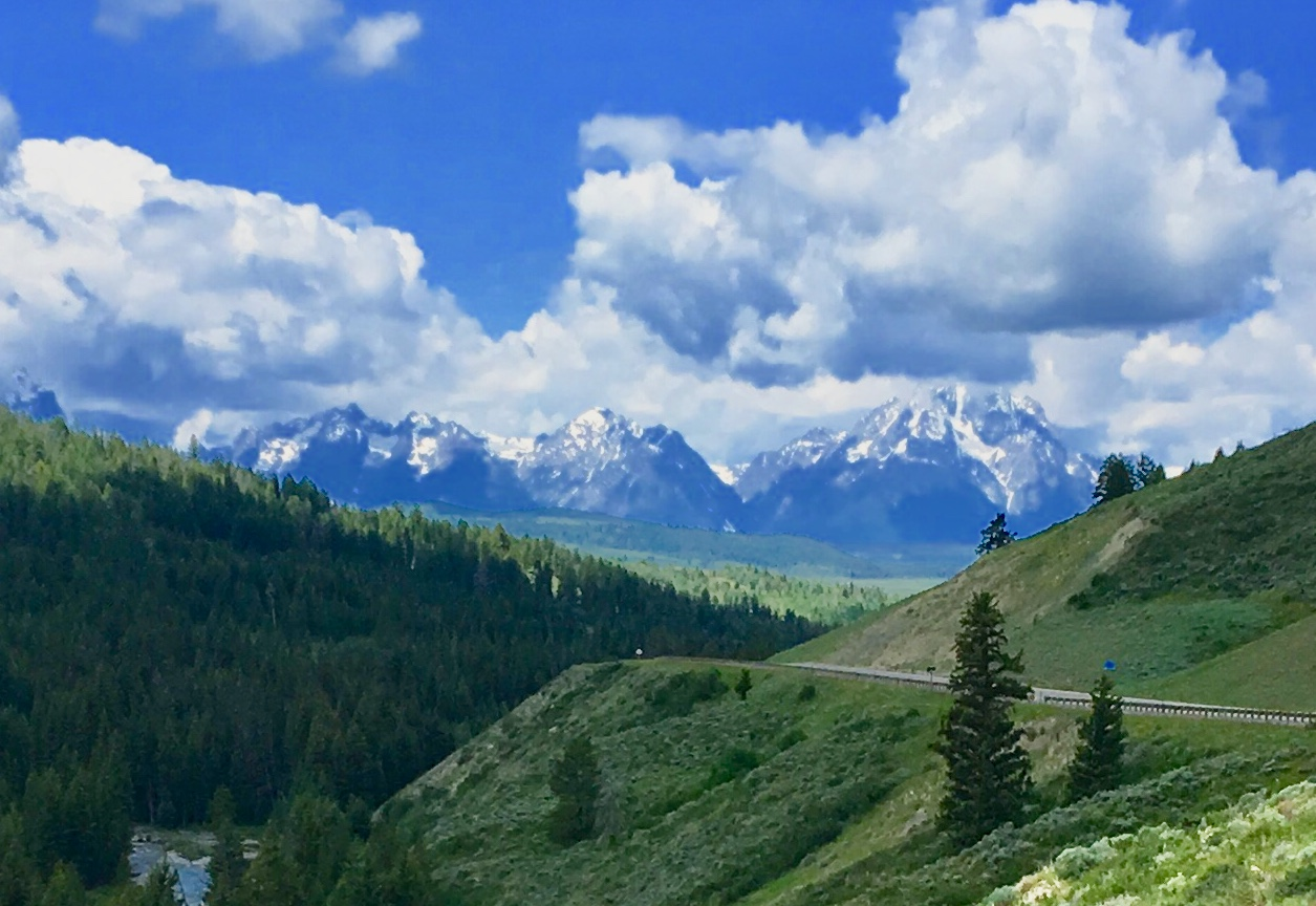 - The Tetons from a point along the climb to the Coneinental Divide.