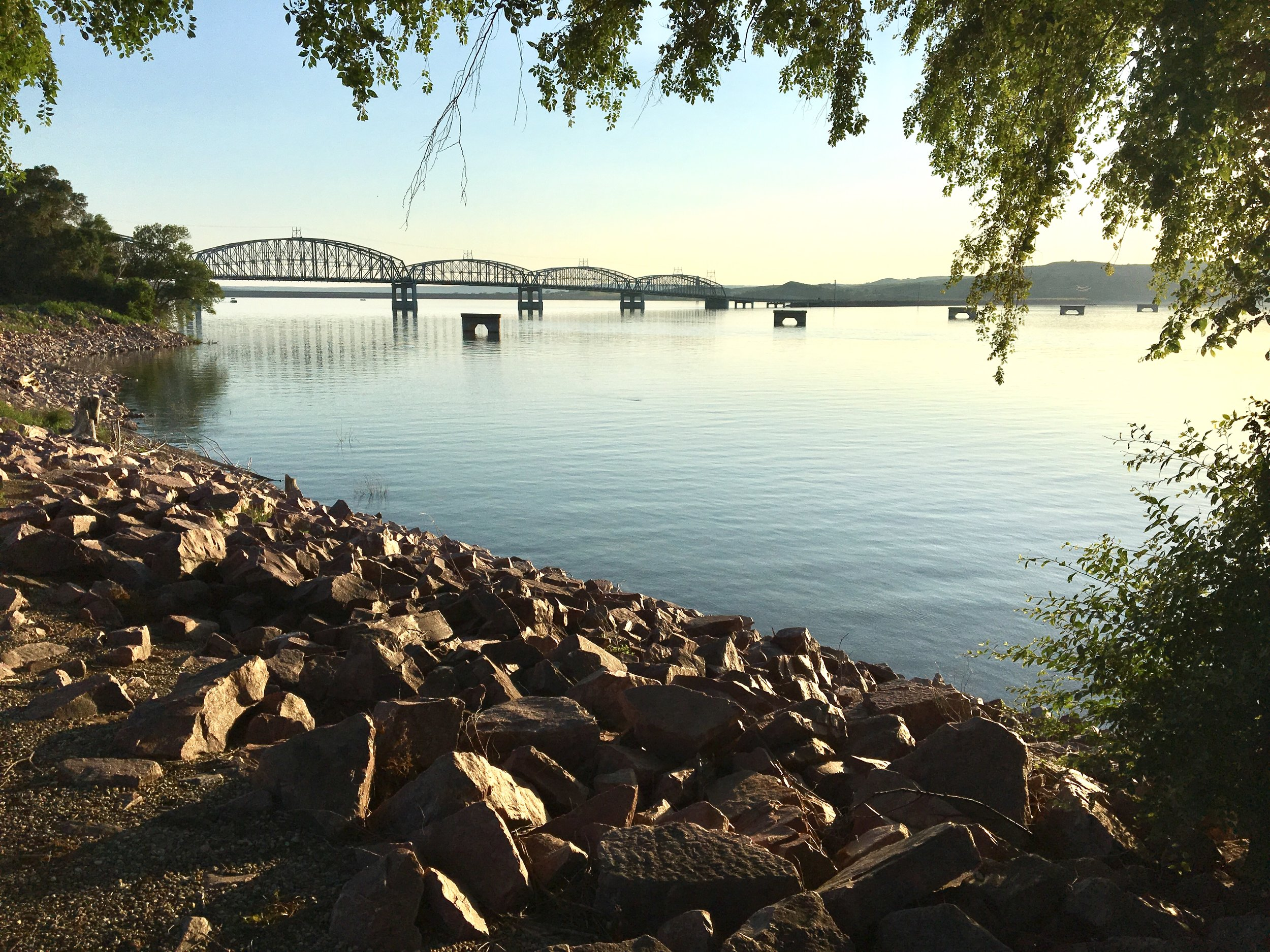 - A view of the bridge over the Missouri River as seen from our walk in Chamberlain in the evening.