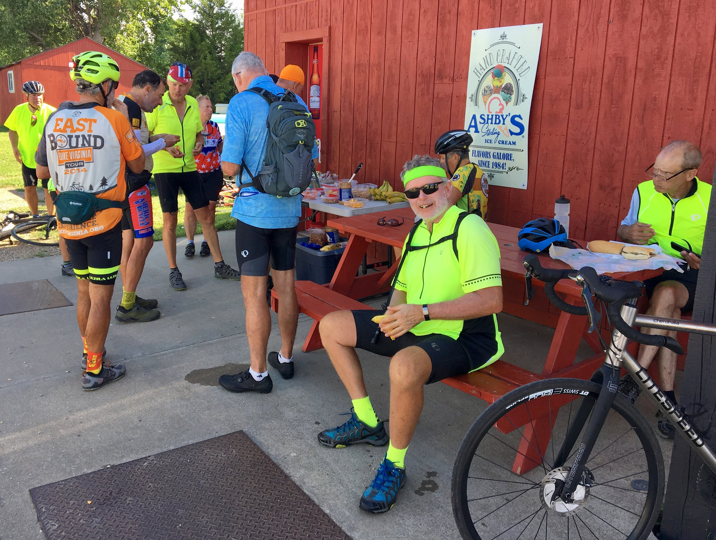 - A SAG stop on the way to Mitchell. This is a really nice group I'm riding with. I'm told the average age (of about 30 riders) is 62, one year younger than me.