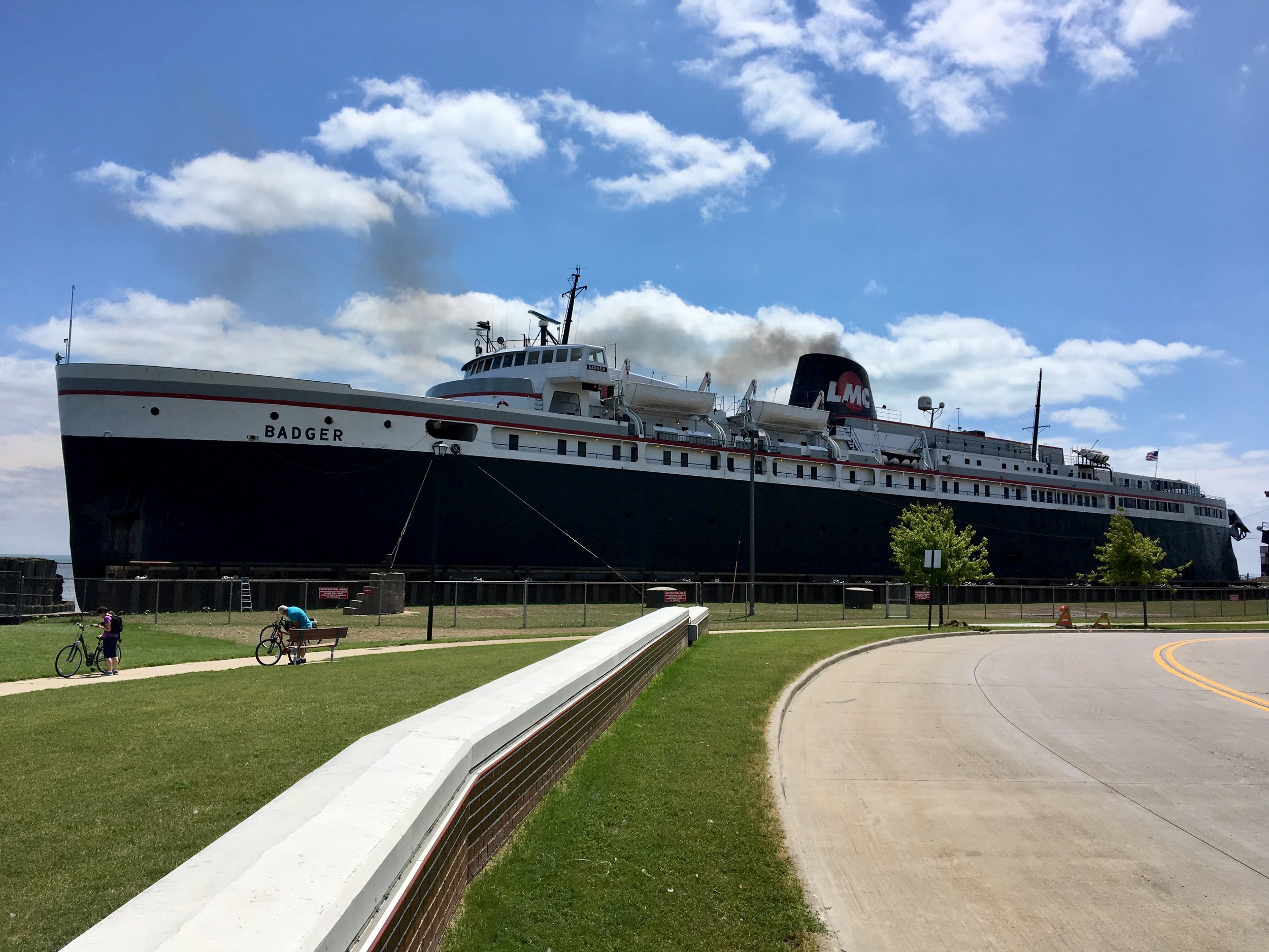 - The SS Badger is a huge coal-powered ferry that carried us and many others across the lake to Michigan.