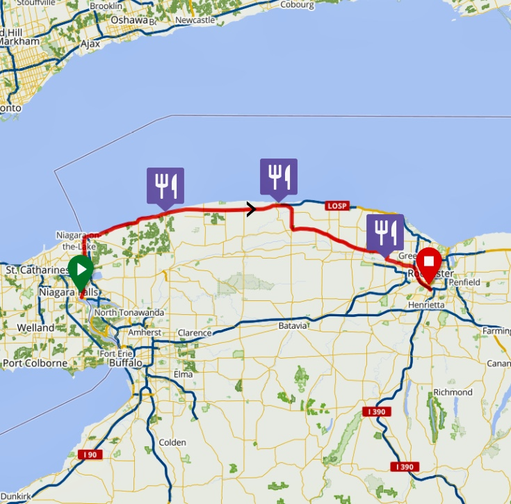 - We pedaled northward along the Niagara River and then eastward along the shore of Lake Ontario toward Rochester