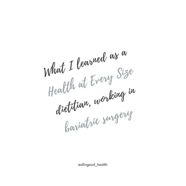 """Today's blog post is live! This is one I've been mentally writing for over 6 months 😱 I'm sharing about what my experience was like, working in a bariatric surgery clinic, as a weight neutral dietitian. . While I ultimately decided I didn't feel comfortable """"promoting"""" weight loss surgeries by working there, there was a period of time where I was unable to leave my job. So for a while I felt like a giant hypocrite, knowing I was sharing HAES messages on social media, then going to work in a weight loss surgery clinic in real life. Eventually, I was able to leave that position and I've since been able to pursue things that better align with my values! 🎉🙌🏻 But I learned some big lessons while working there, and wanted to be able to share them, in case any other RD's (or other health care providers) are in the same situation I was! . In the blog post, I'm sharing my biggest takeaways and some tips if you find yourself in a similar situation! . If you're interested in reading, click the link in my bio and it will take you over to the blog!"""