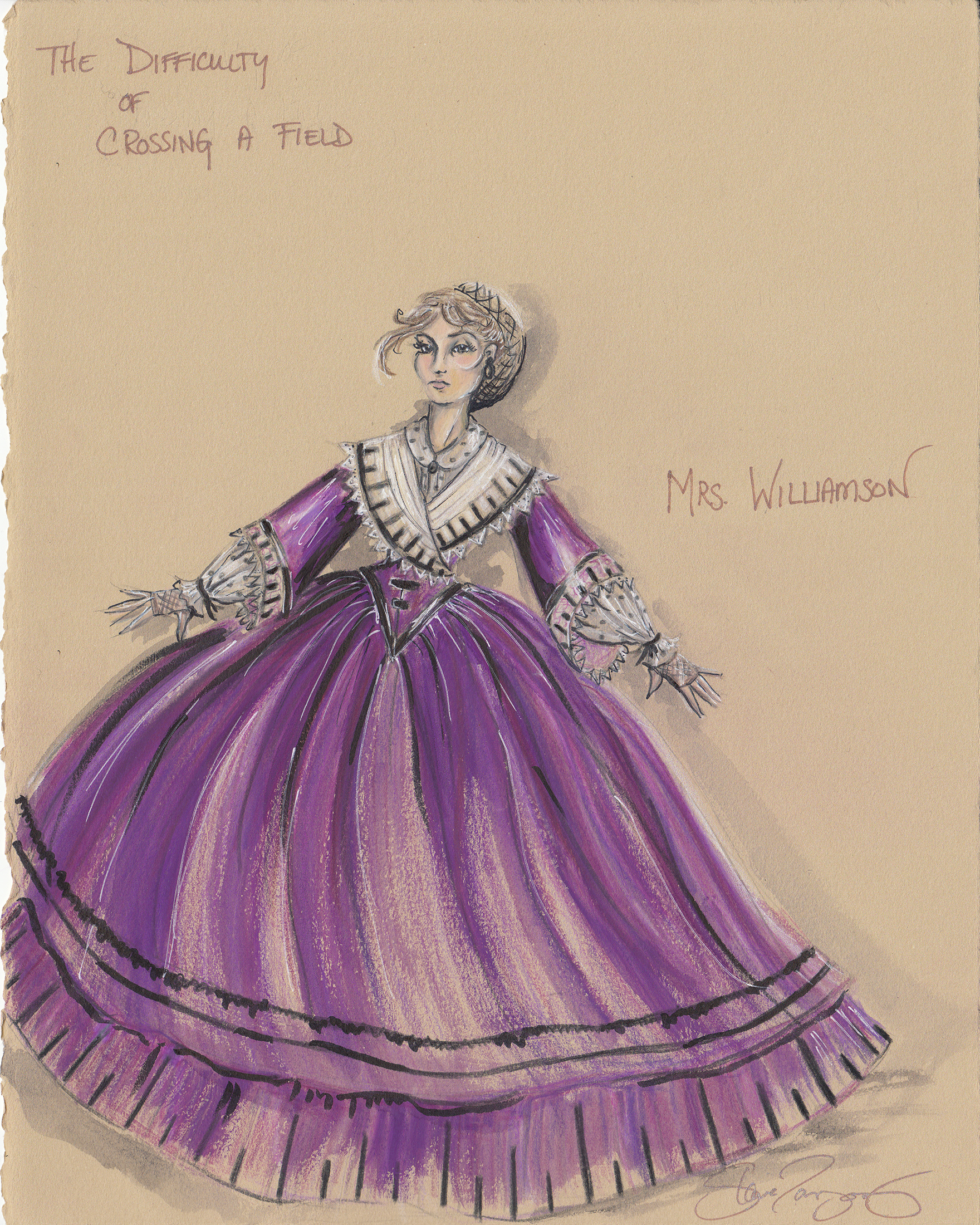 Costume Rendering for the 'Old Woman' in The Difficulty of Crossing a Field