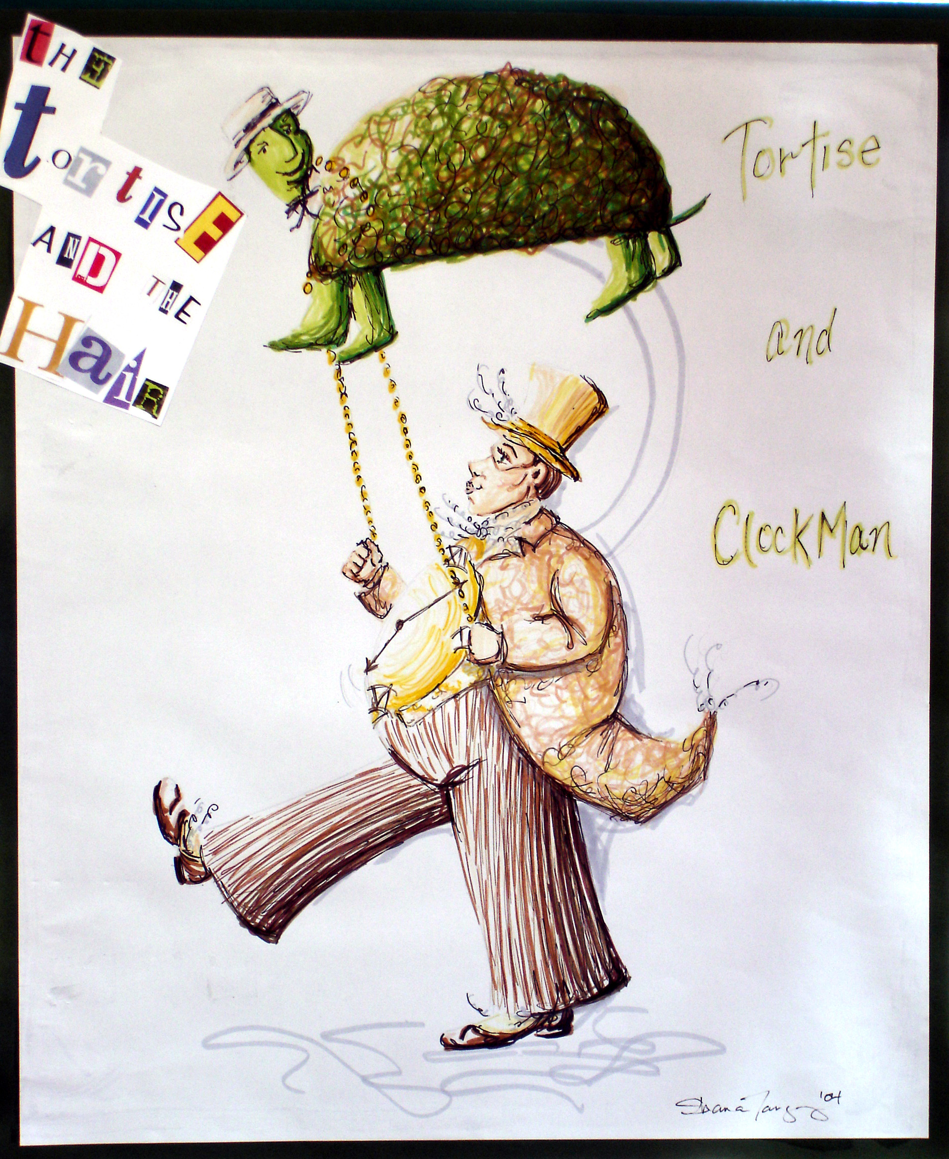 Concept Rendering - Tortoise and Clock Man, Stinky Cheese Man
