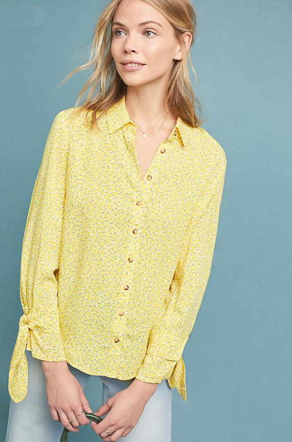 Top - Nothing light a yellow shirt to add sunshine to the gloomy spring day. Yellow can be a difficult color but this shade is sunny and bright.