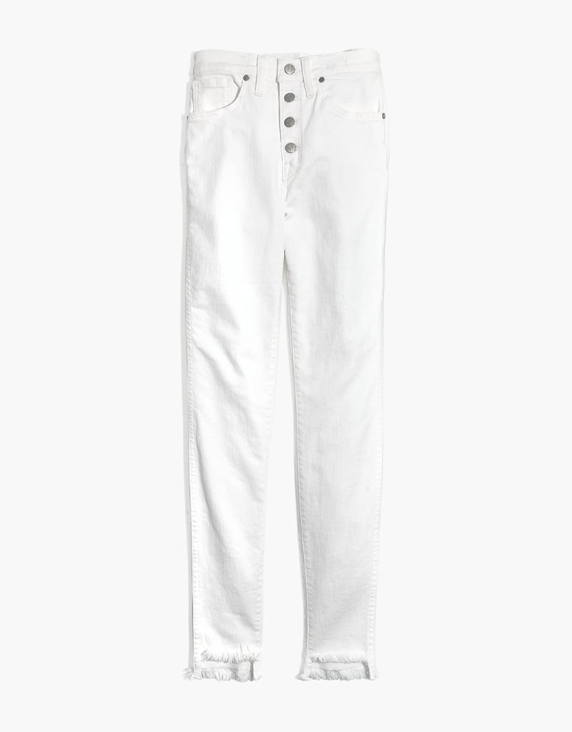 White Denim - These are the perfect white Jeans in every way. So soft and comfortable, high rise, not see through and the perfect distressed ankle. Run don't walk to grab these Madewell Jeans.