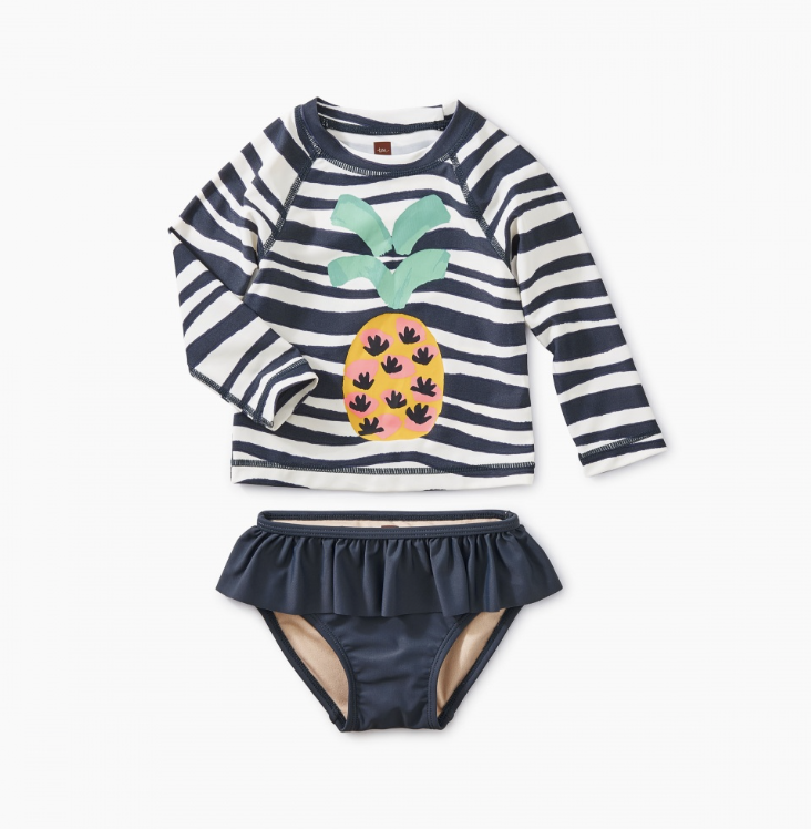Swim for the girls - Personally, I'm not a fan of bikinis for girls or one piece swimsuits as they make it so much harder for potty breaks or changing swim diapers. This adorable two piece from Tea Collection is the most adorable print and provides cover from the sun.