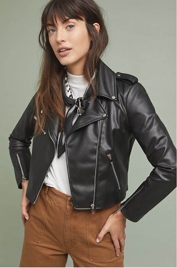 Faux leather jacket from Anthropologie only $98