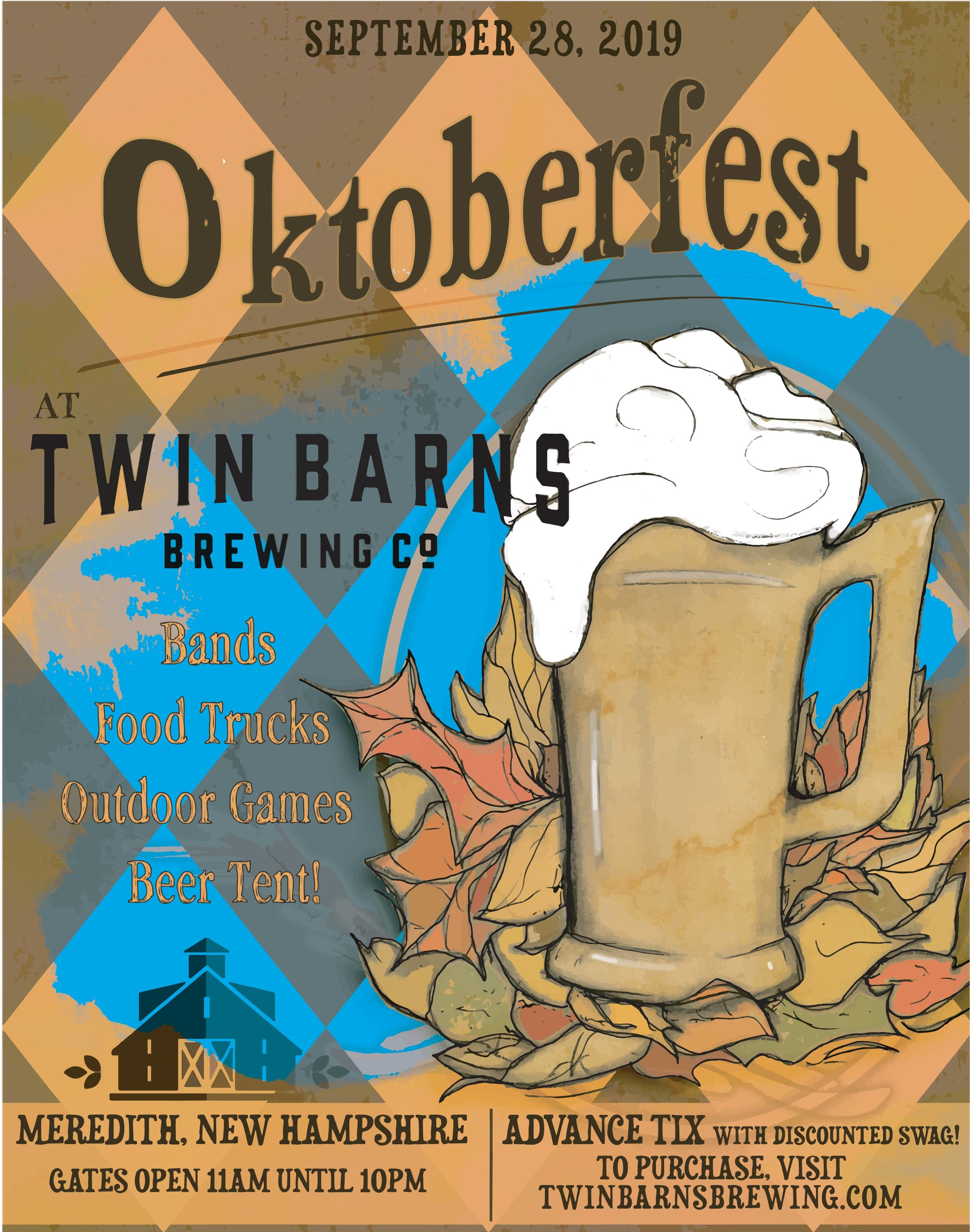 Join us on September 28th from 11am to 10pm for our first annual Oktoberfest! - We will have live music, food trucks, outdoor games, and more fun for the whole family!Offered beers include our staple on-tap brews and two special German style featured beers:Helles - a full-bodied, mildly sweet, and light-colored beer with low bitternessDoppelbock - a very rich and malty beer, with toasty notes with a little hop finishPre-purchased tickets are $20 and include a TBBC Oktoberfest t-shirt, mug, and your first beer! Tickets at the door will be sold for $25*. Come wearing traditional dirndl or lederhosen and receive free admission! This is not an event to be missed!*Those not drinking or not-of-age will be admitted for free
