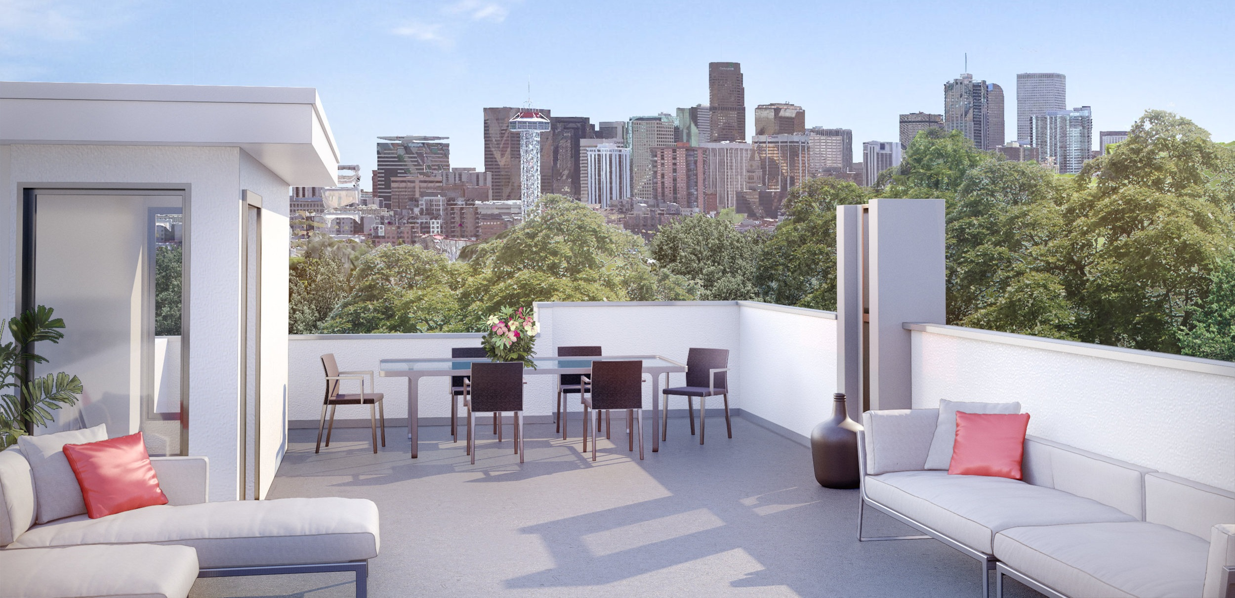 Roof deck view from 23 JP, rendering.