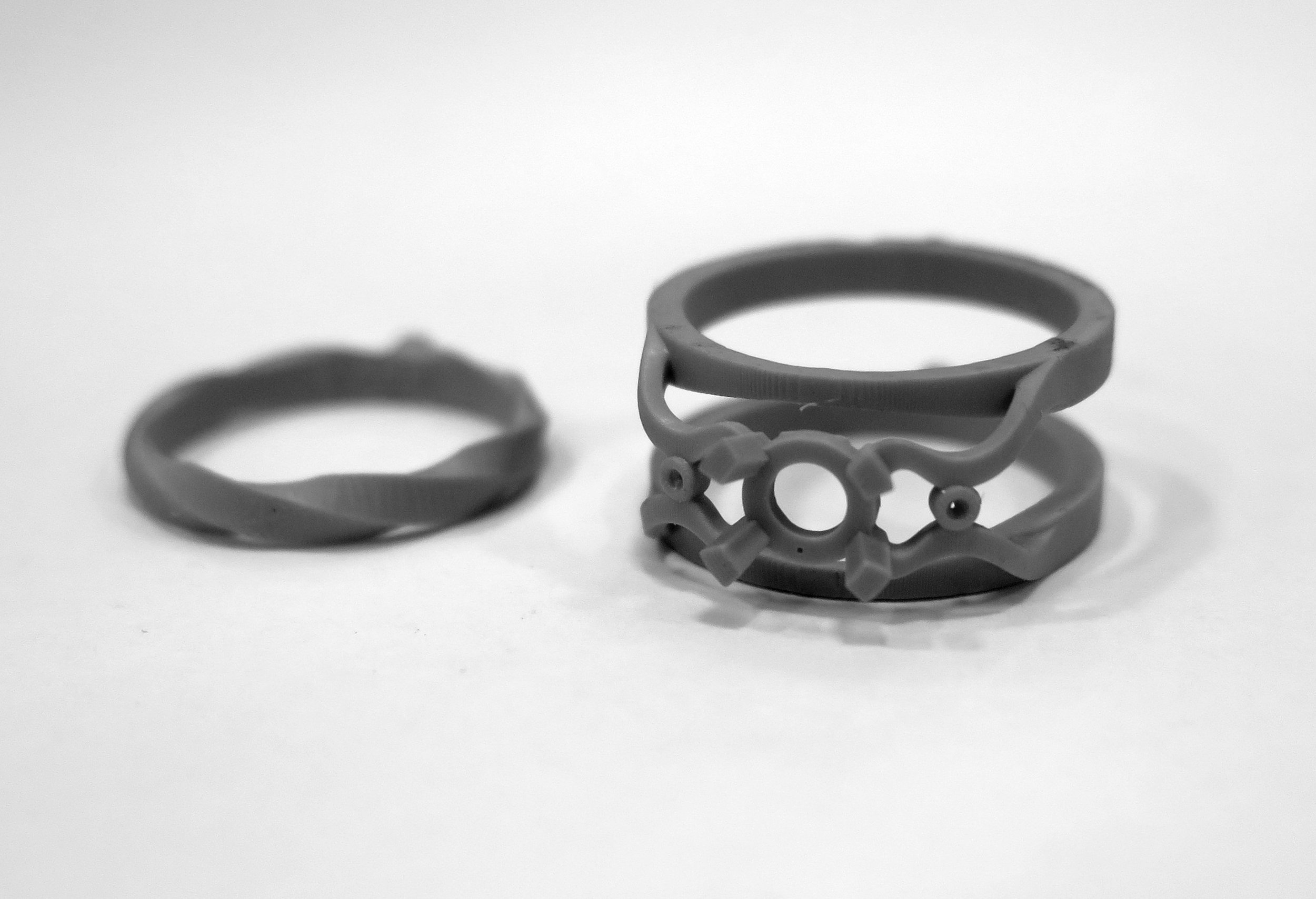 SLA 3-D printed ring ready for casting.