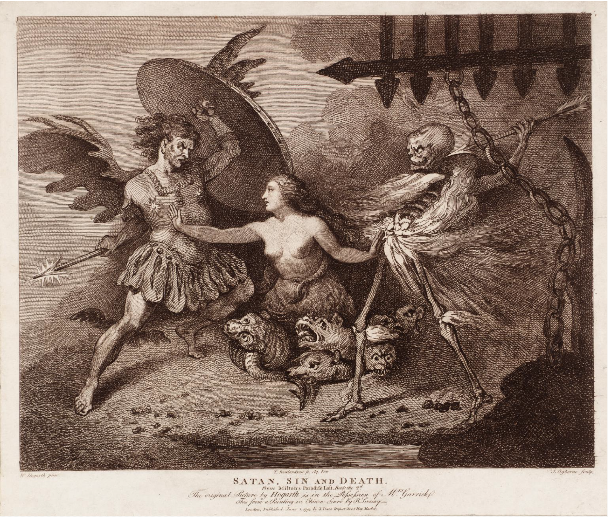 - SATAN, SIN, AND DEATH…Etching made from an original Hogarth painting.