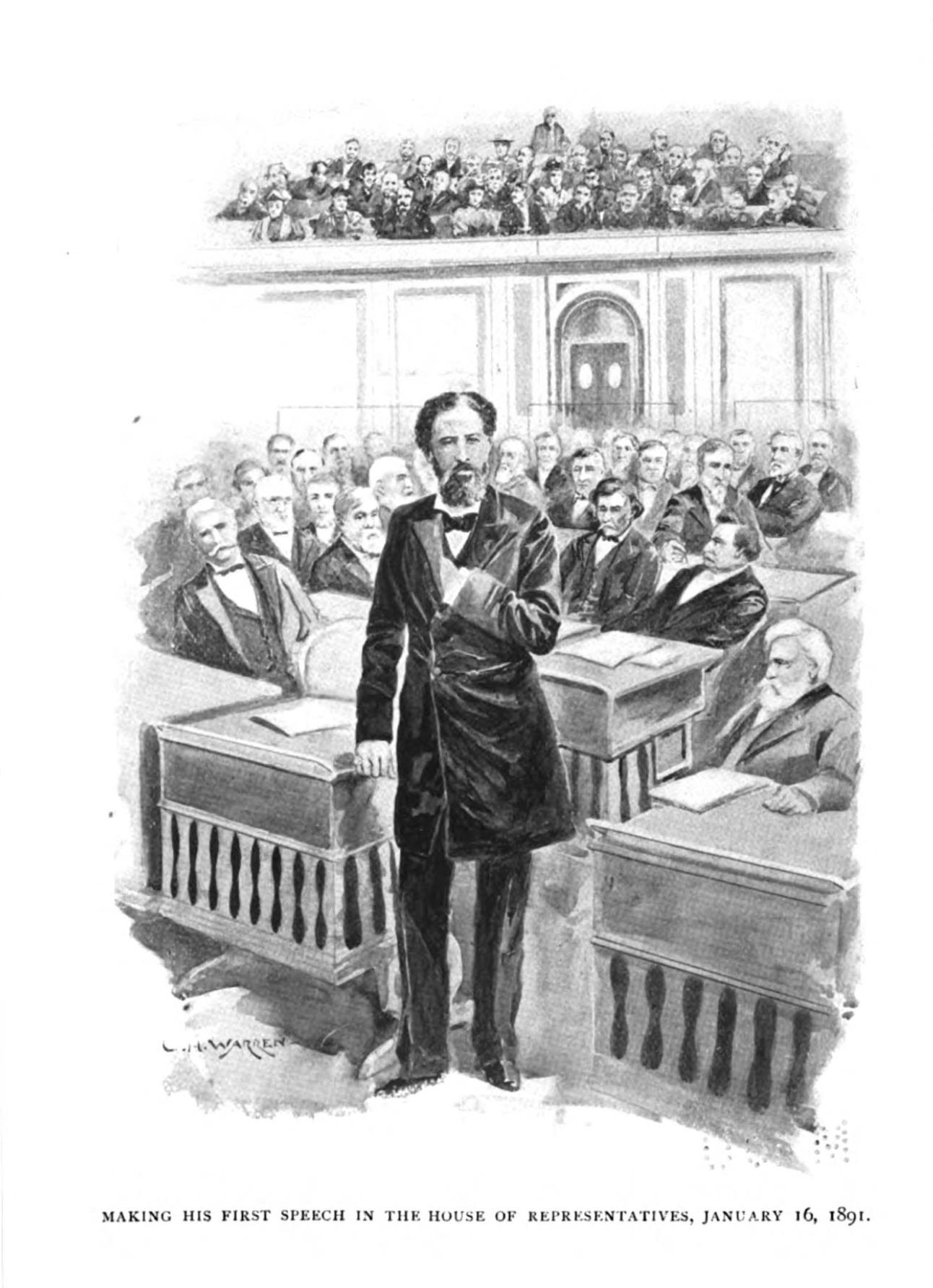 John Mercer Langston - Making his first speech in the House of Representatives, January 16, 1891