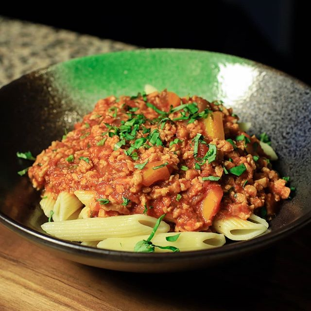 Pasta Bolognese made with Longéve plant-based protein crumbles. People love this bolognese sauce. Cant believe it's not meat! 39g protein per serving!