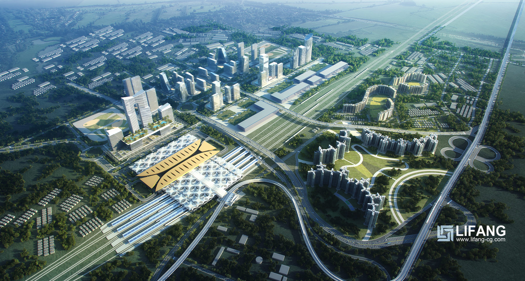 Aerial rendering of urban planning project