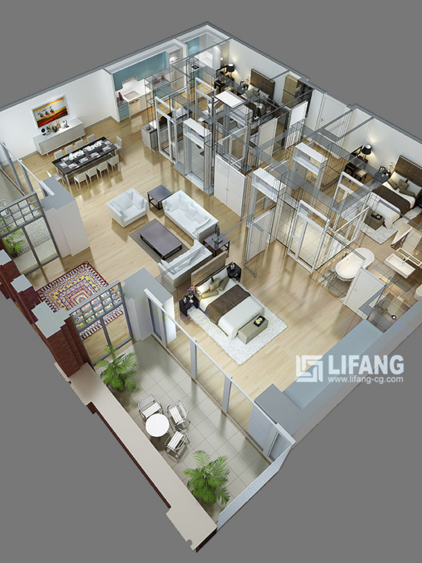3D Floor Plans - Floor plans that sell your space! These floor plans are beautiful, rendered in full 3D with appropriate lighting and furnishings. A warm and inviting way to show the layout of a space.