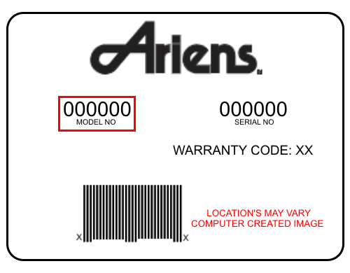 Ariens product's Model & Serial # sticker
