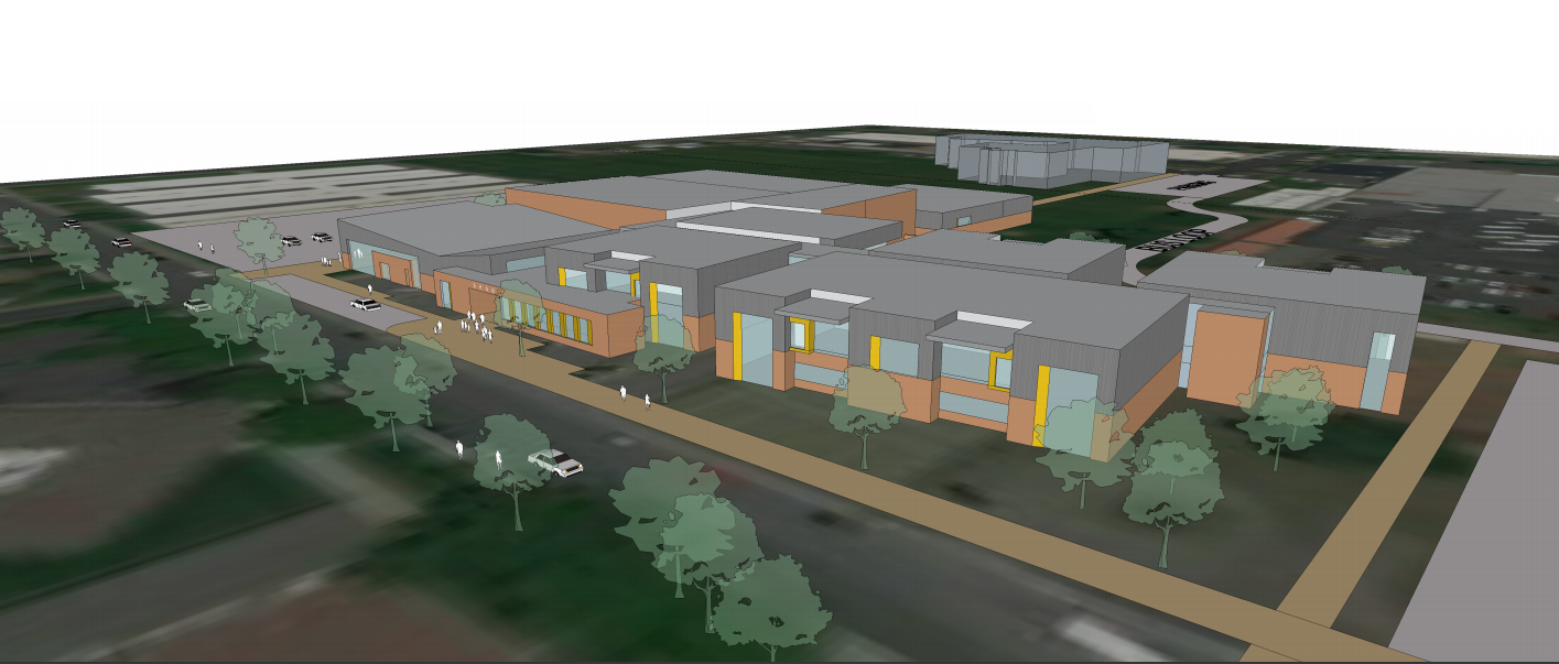 An early rendering of the new Shaw Middle School