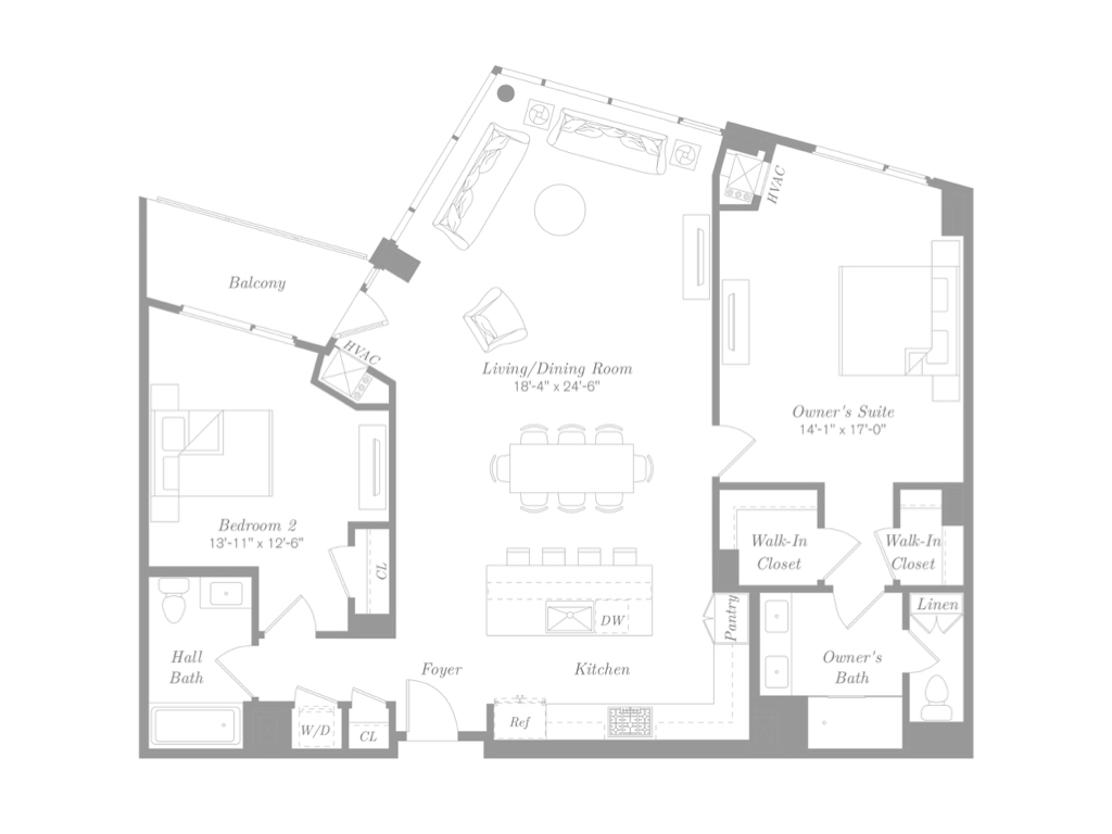 RESIDENCE 611 - $1,345,000 | 1,541 Square Feet | 2 Bedroom | 2 Bathroom | Balcony